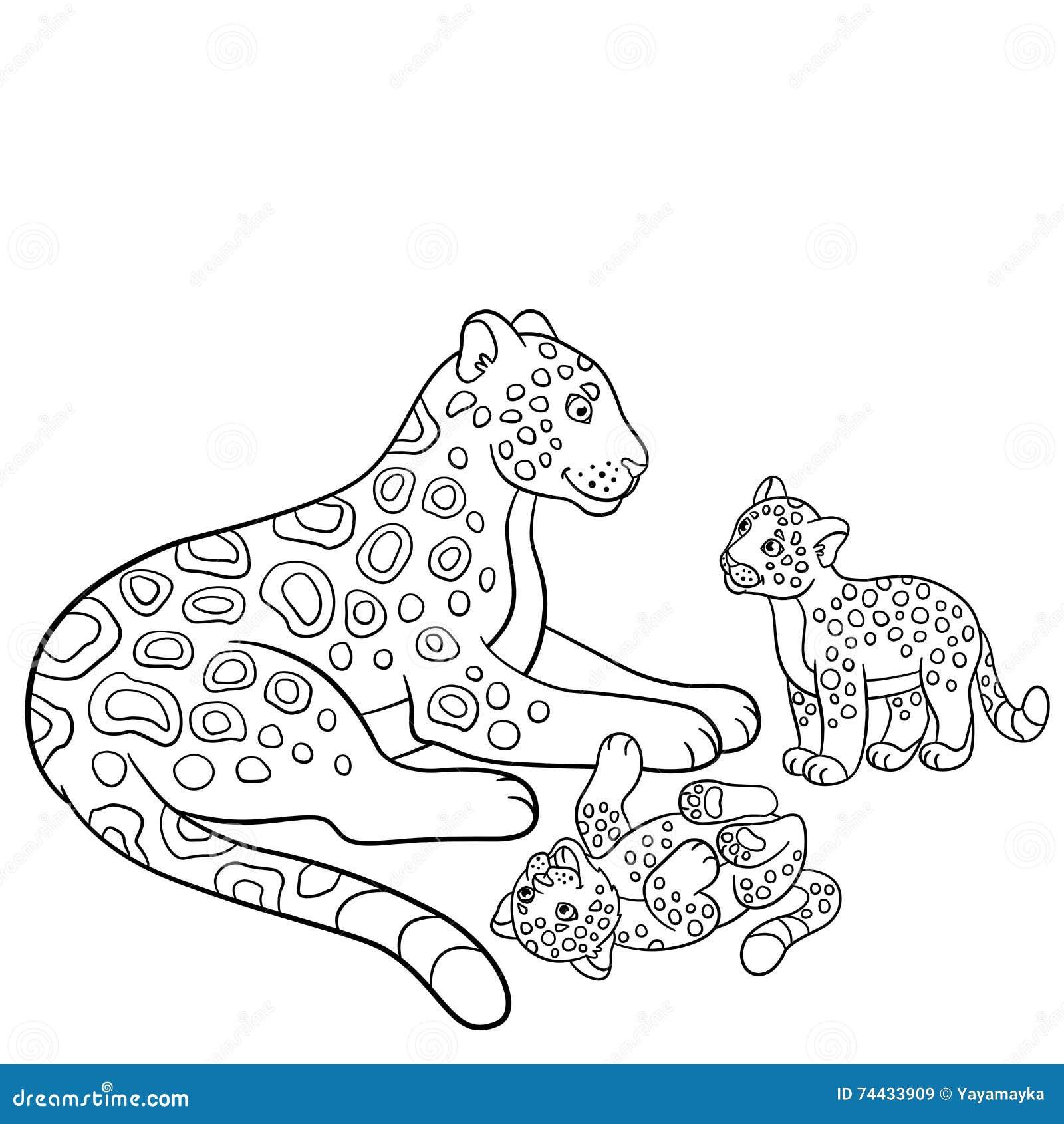 Páginas Del Colorante Jaguar De La Madre Con Sus Cachorros Lindos ...