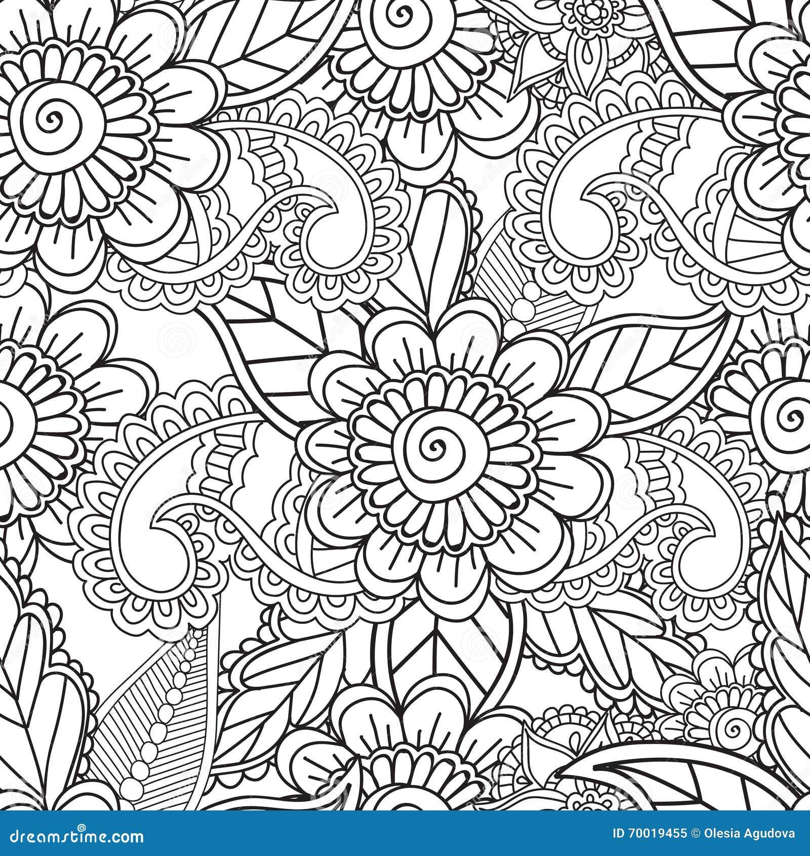 Paginas Del Colorante Para Los Adultos Elementos De Seamles Henna