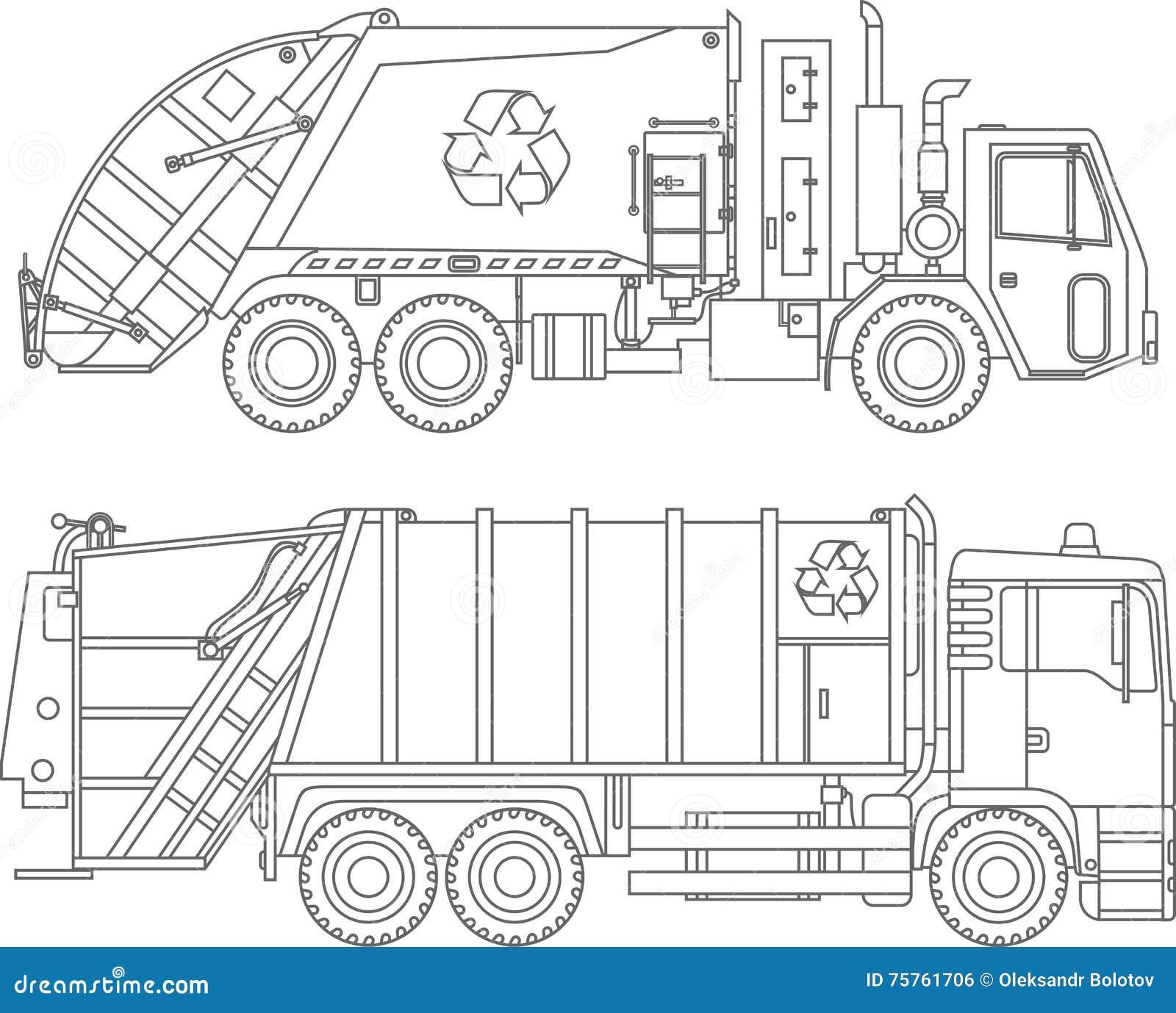 Páginas del colorante Sistema de iconos lineares planos de los camiones de basura del diferente tipo aislados en el fondo blanco