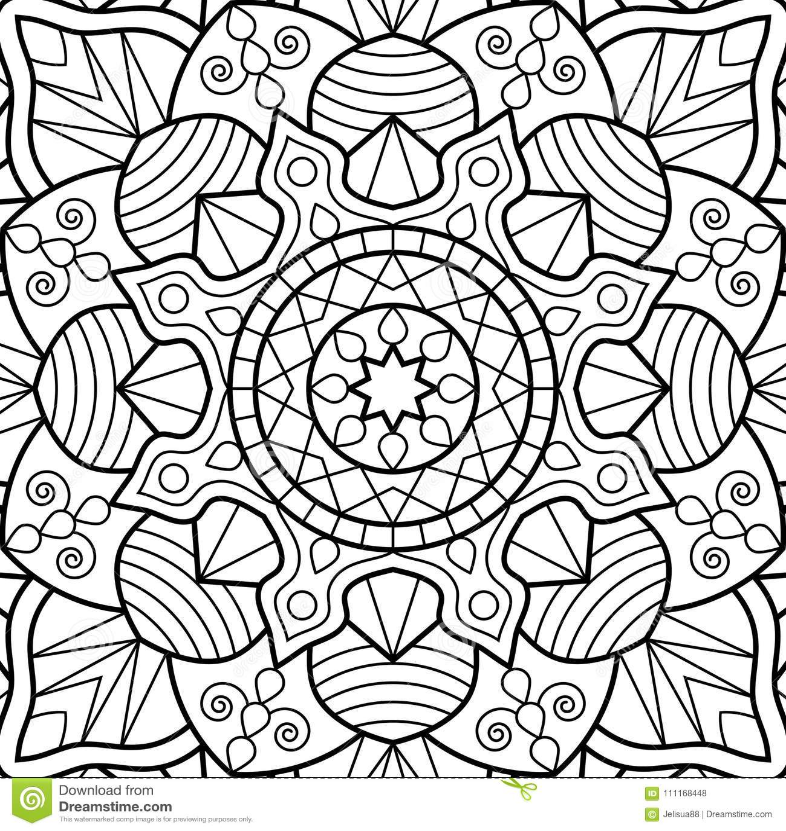 Páginas Del Libro De Colorear Mandala Medallón Antiesfuerzo Indio ...