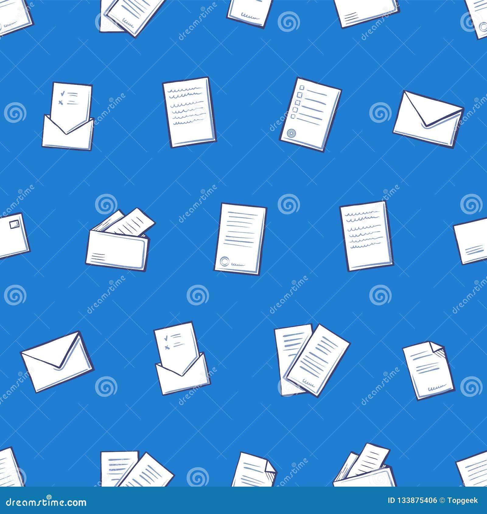 Páginas do contrato e ícones sem emenda do teste padrão do envelope