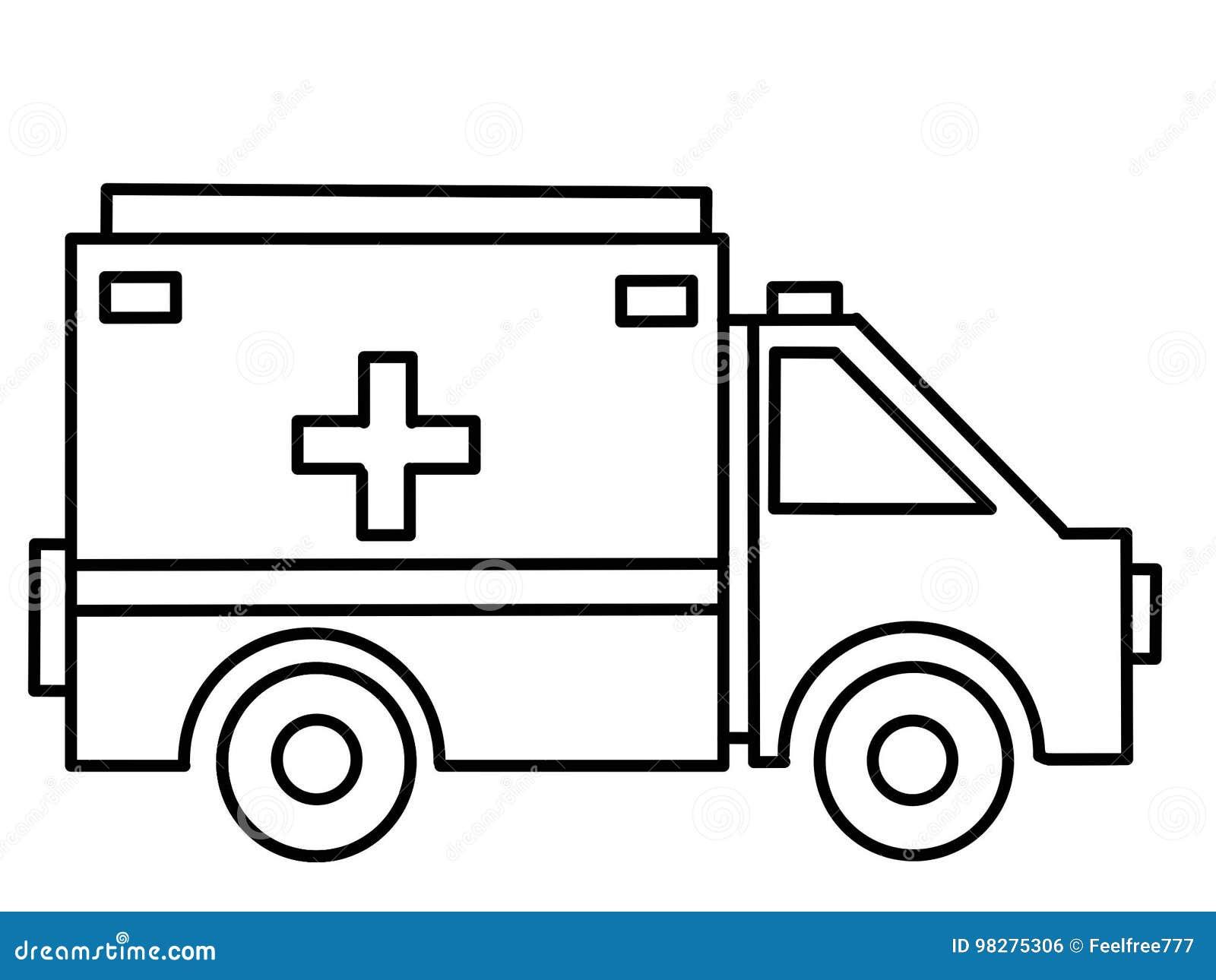 Páginas Educativas Del Colorante De La Ambulancia Del Camión Stock ...