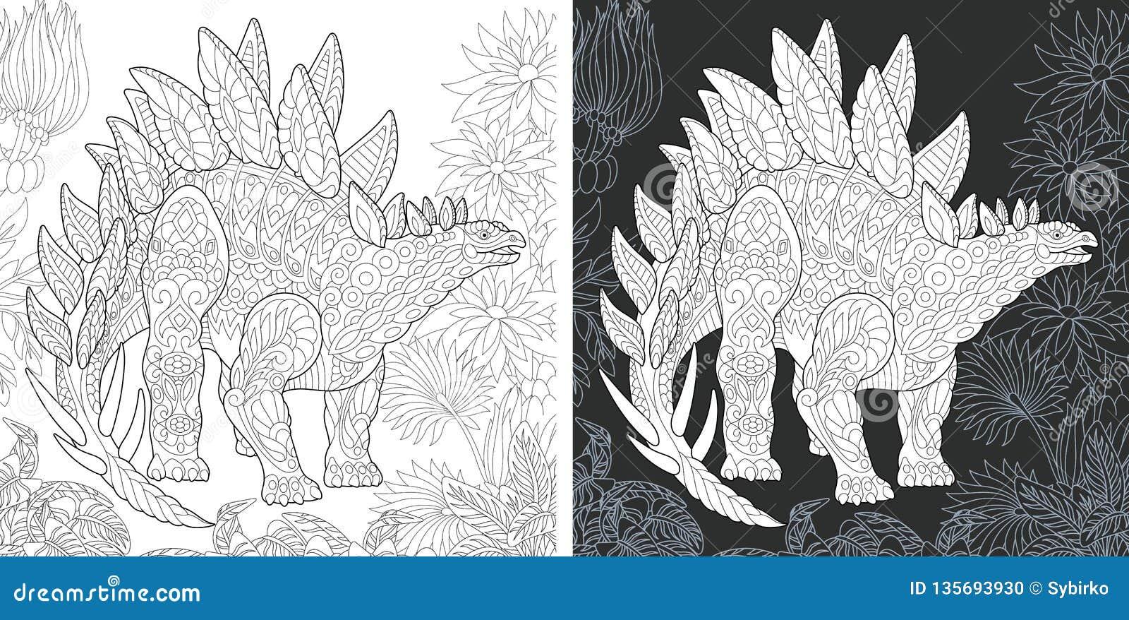 Páginas que colorean con el Stegosaurus