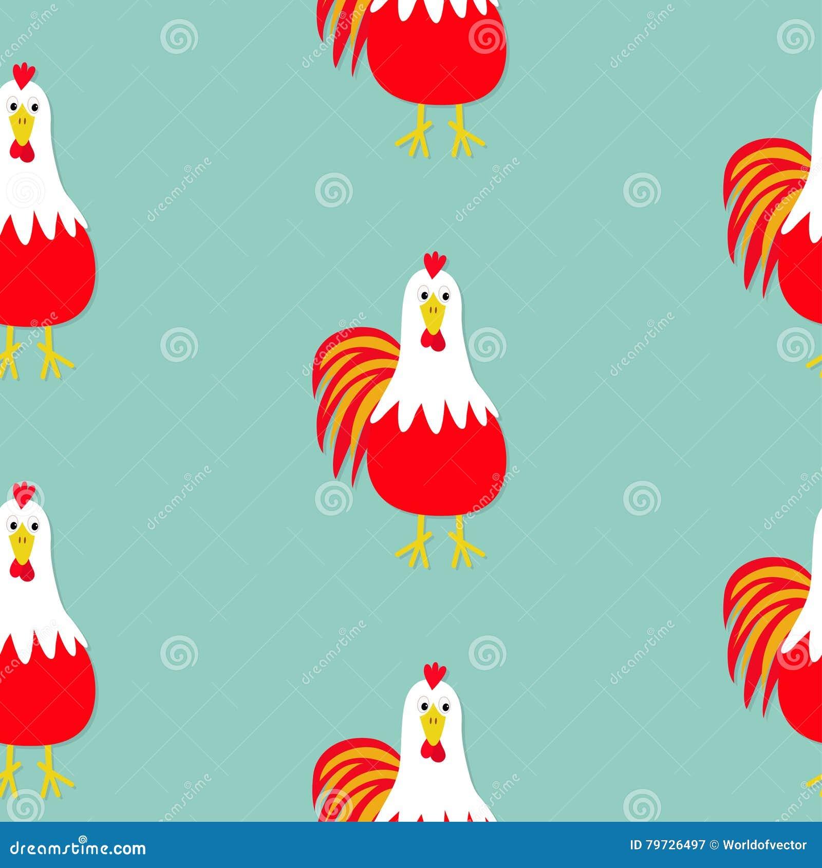 Pájaro del gallo del gallo Modelo inconsútil Calendario de 2017 de la Feliz Año Nuevo chinos del símbolo Carácter divertido de la