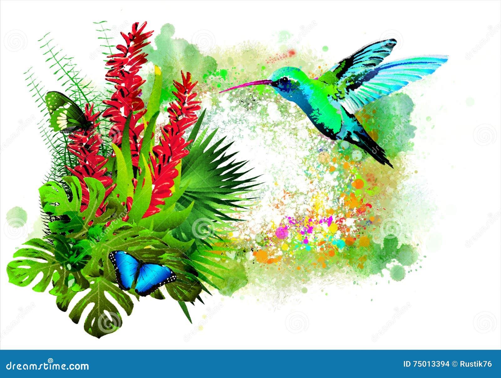 Pájaro tropical con las flores