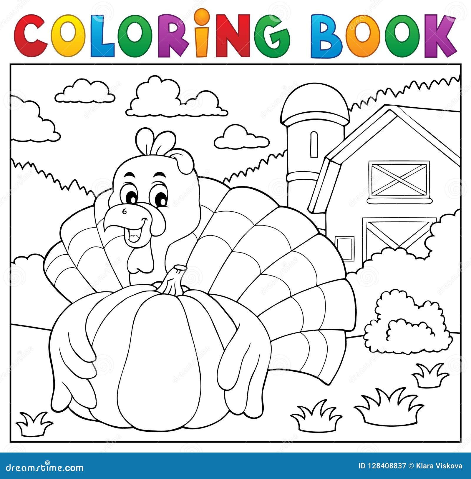 Pájaro y calabaza 2 del pavo del libro de colorear
