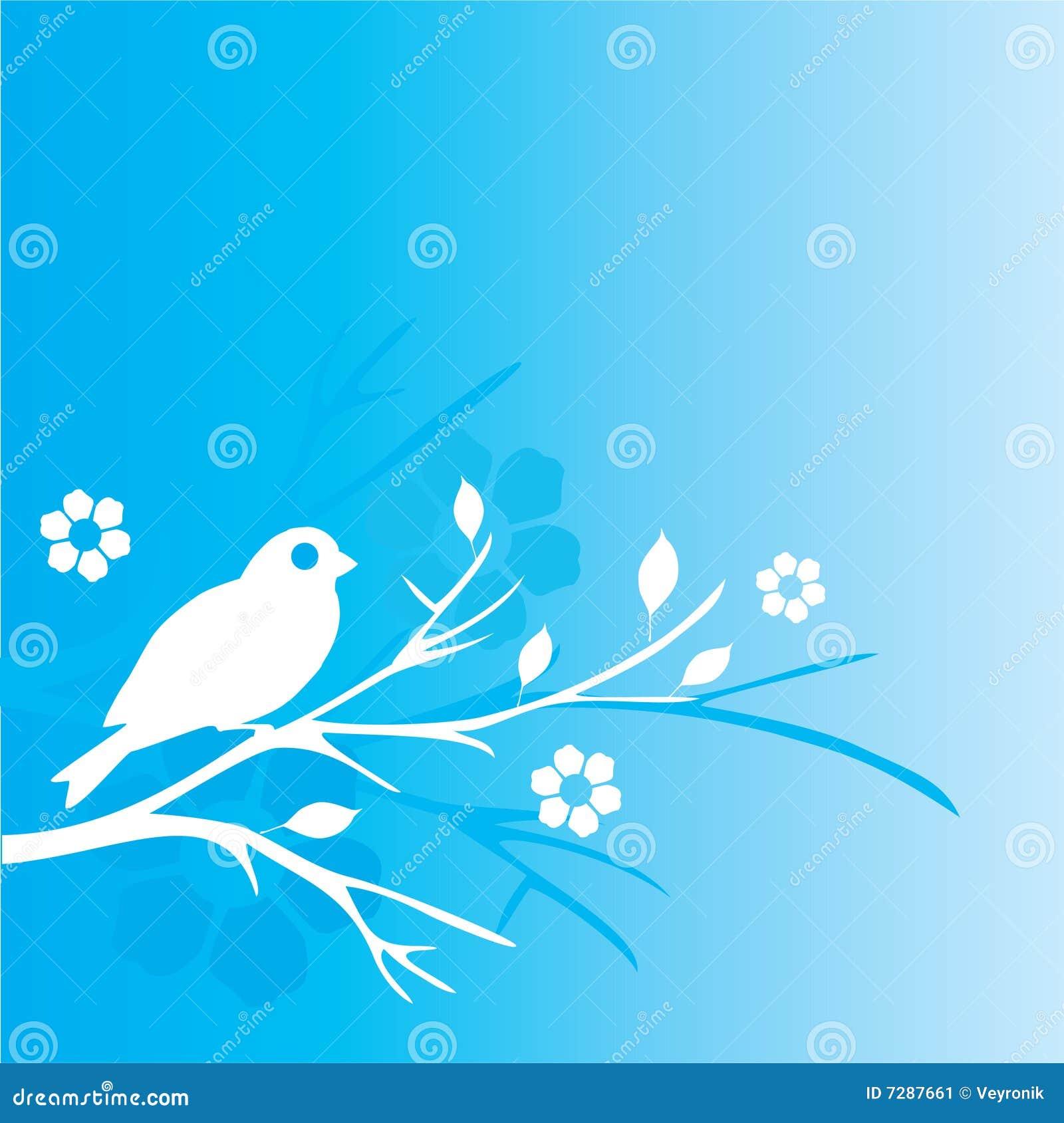 Pájaro y flores azules