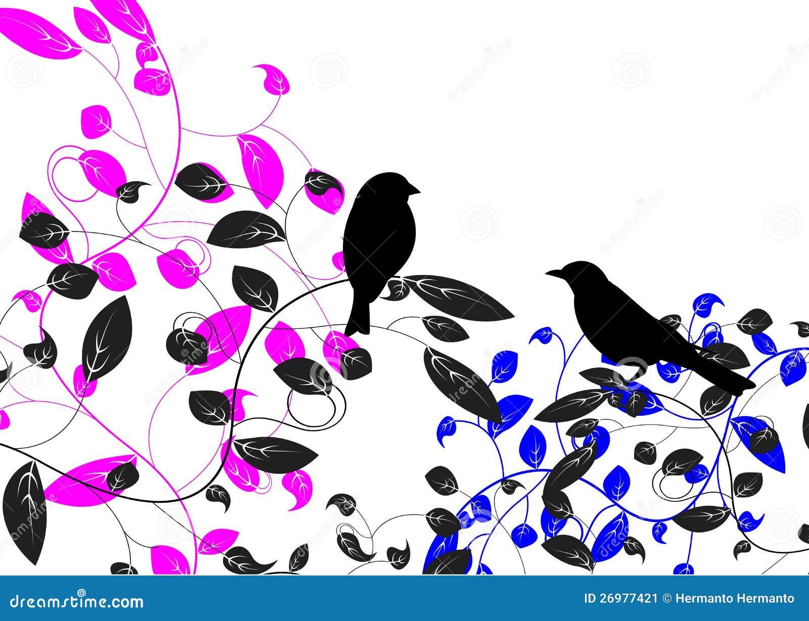Pájaro y hoja