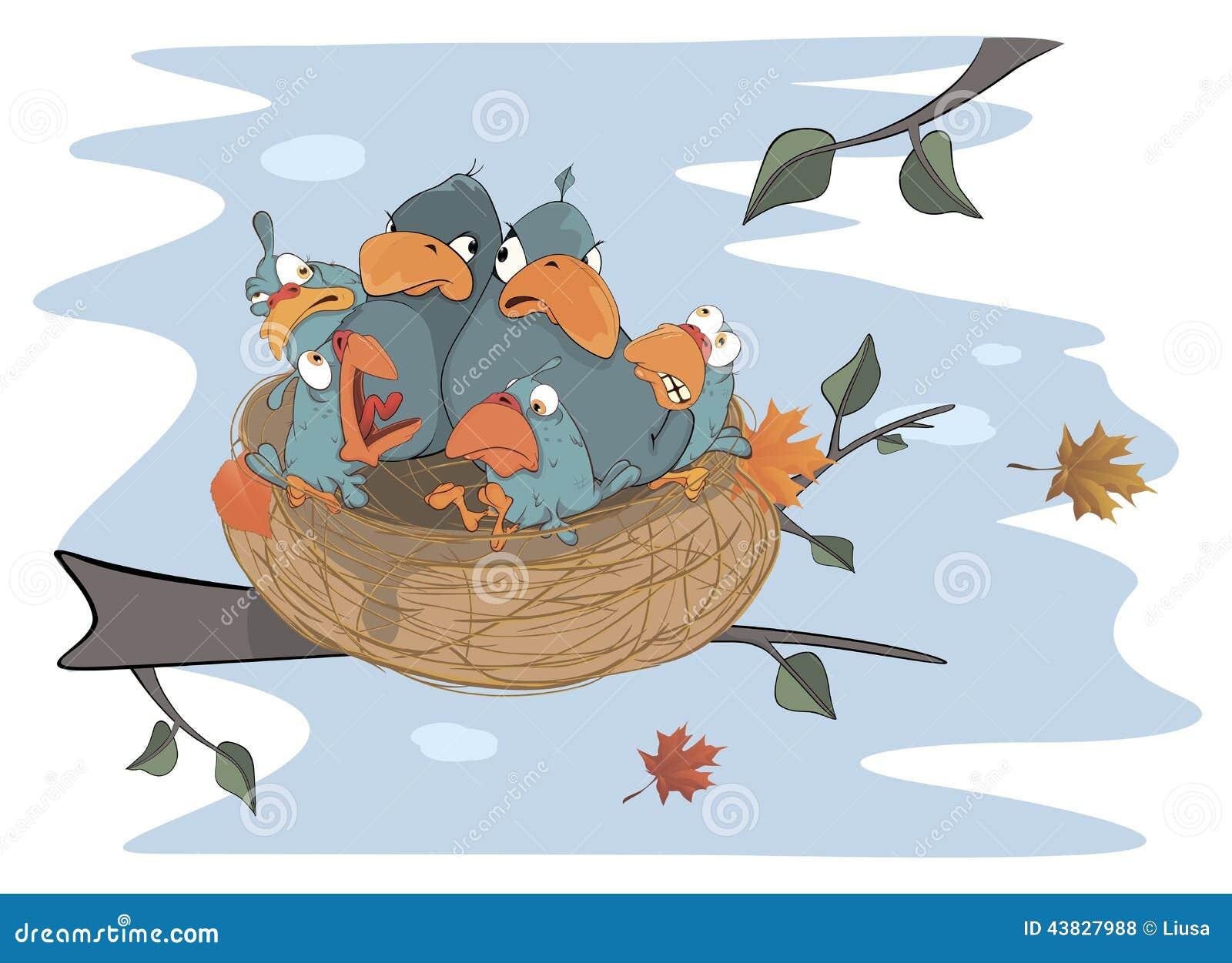 Pájaros con sus cuatro bebés en la historieta de la jerarquía