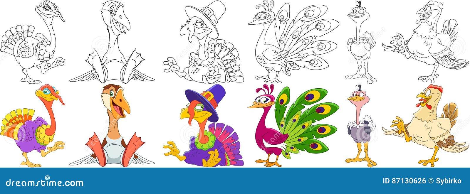 Pájaros De La Granja De La Historieta Fijados Ilustración del Vector ...