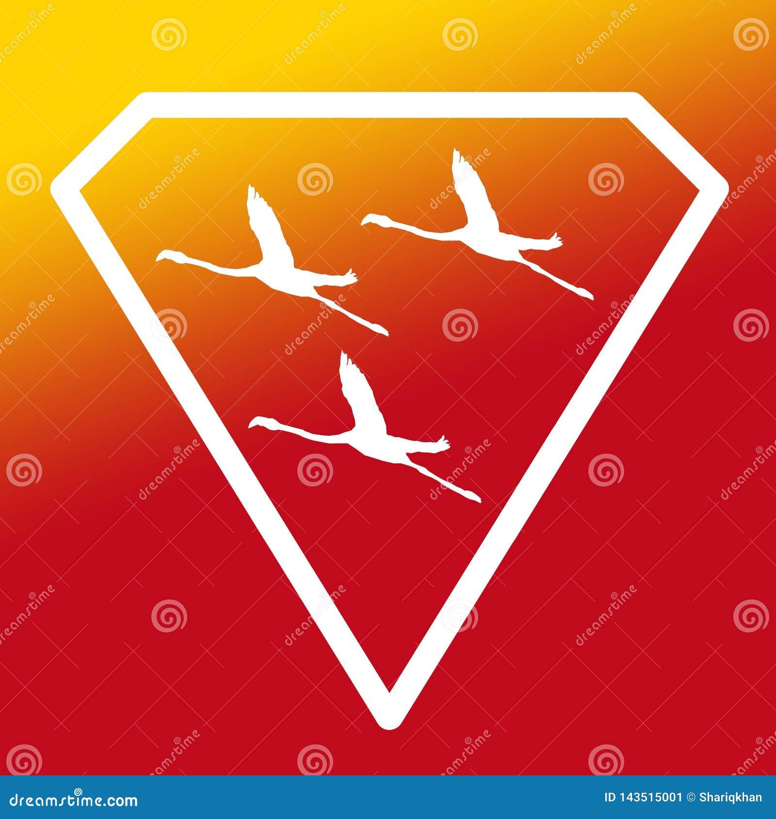 Pájaros de Logo Banner Image Flying Flamingo en Diamond Shape en fondo amarillo-naranja