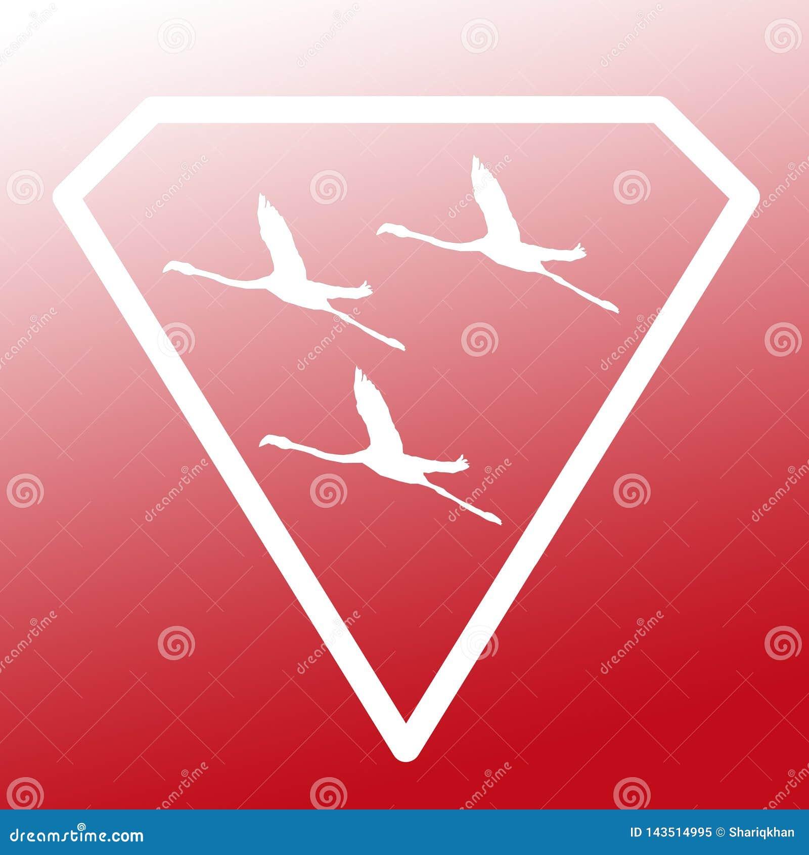 Pájaros de Logo Banner Image Flying Flamingo en Diamond Shape en fondo rojo