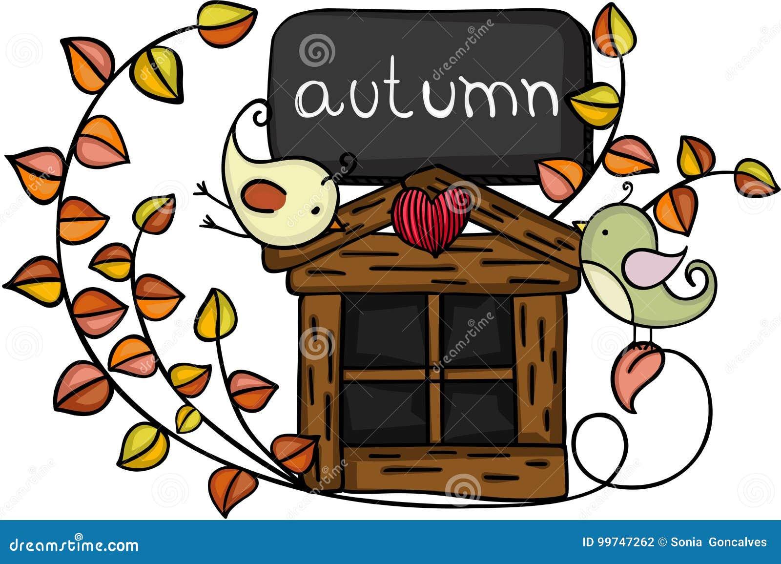Pájaros del otoño del elemento del diseño
