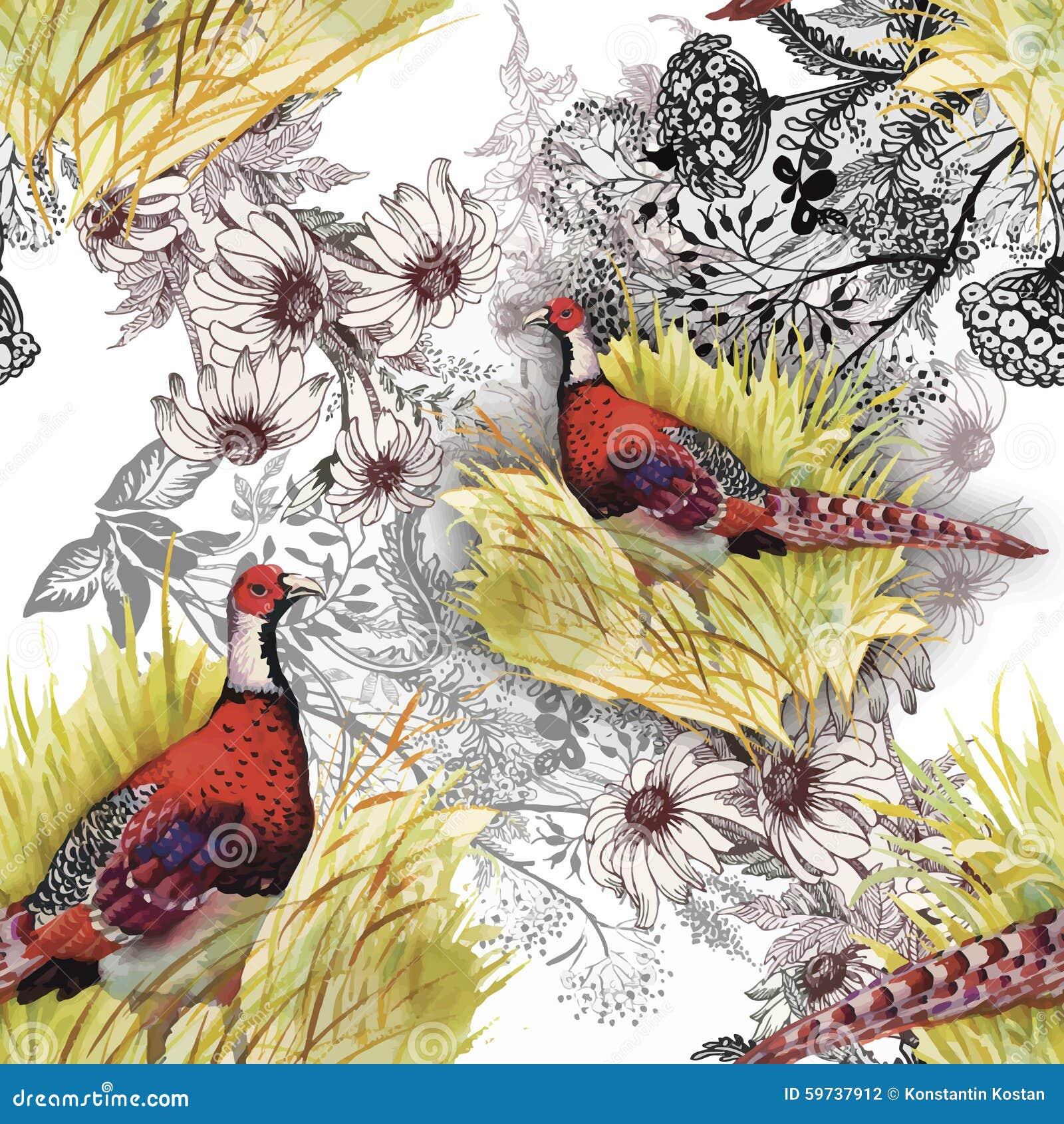 Pájaros salvajes de los animales del faisán en modelo inconsútil floral de la acuarela
