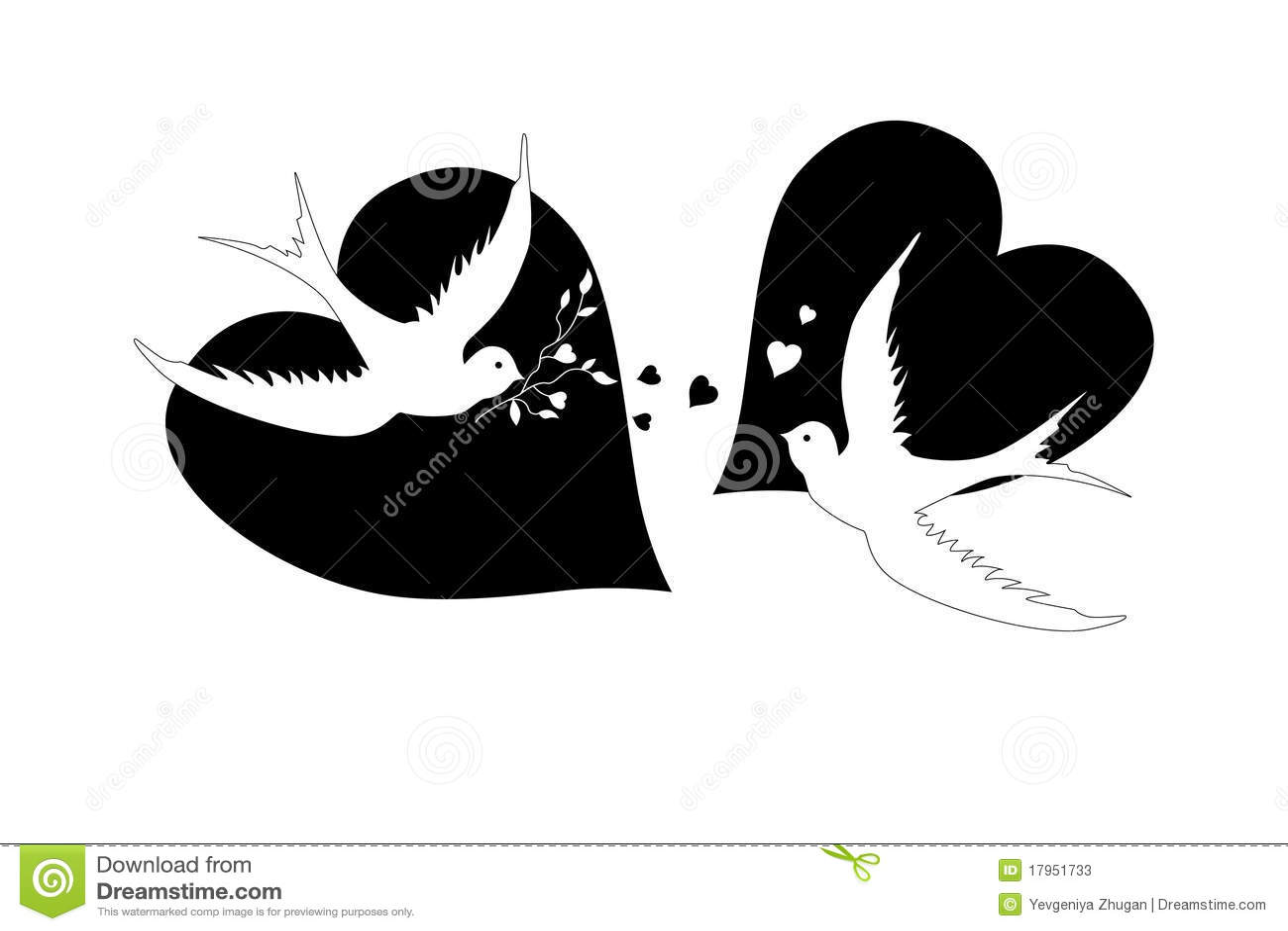 Pájaros y corazones, blancos y negros