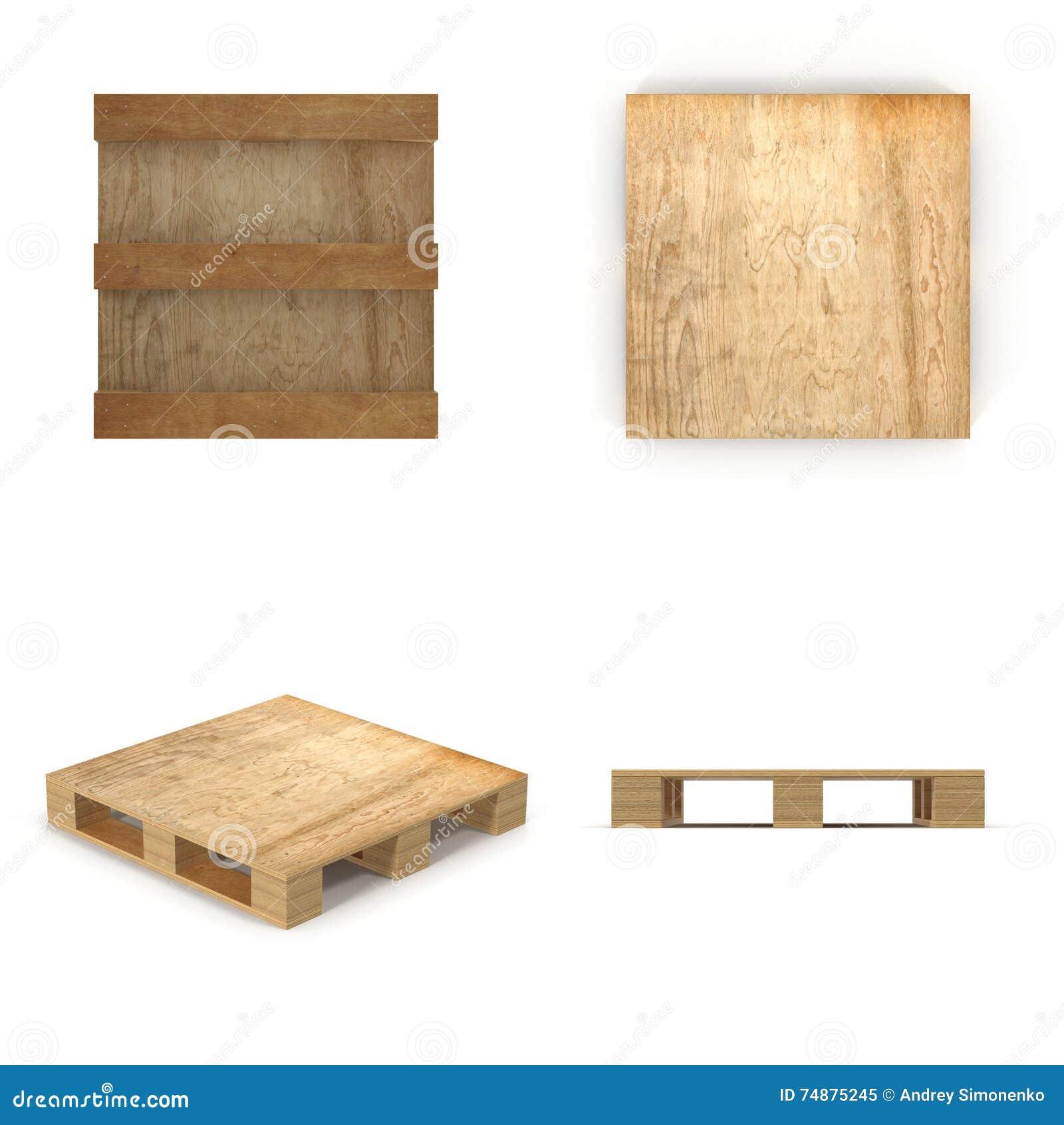 Pálete de madeira Isolado no branco ilustração 3D