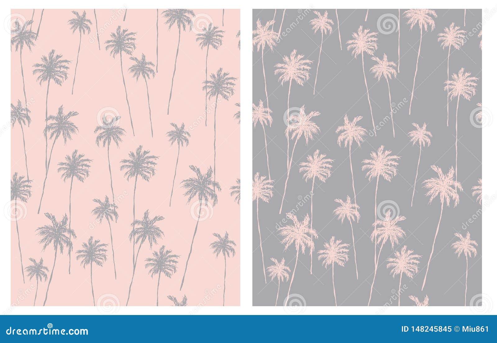Pálido - rosa y Gray Tropical Design para la materia textil, tarjeta, papel de embalaje, Aloha Party Decoration