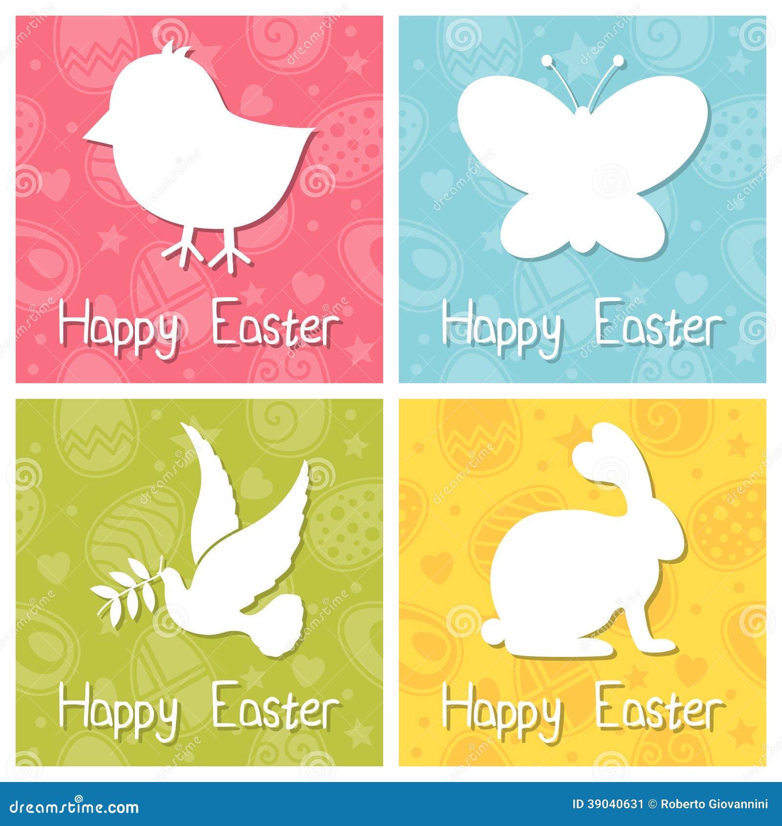 A Páscoa feliz mostra em silhueta o grupo de cartões