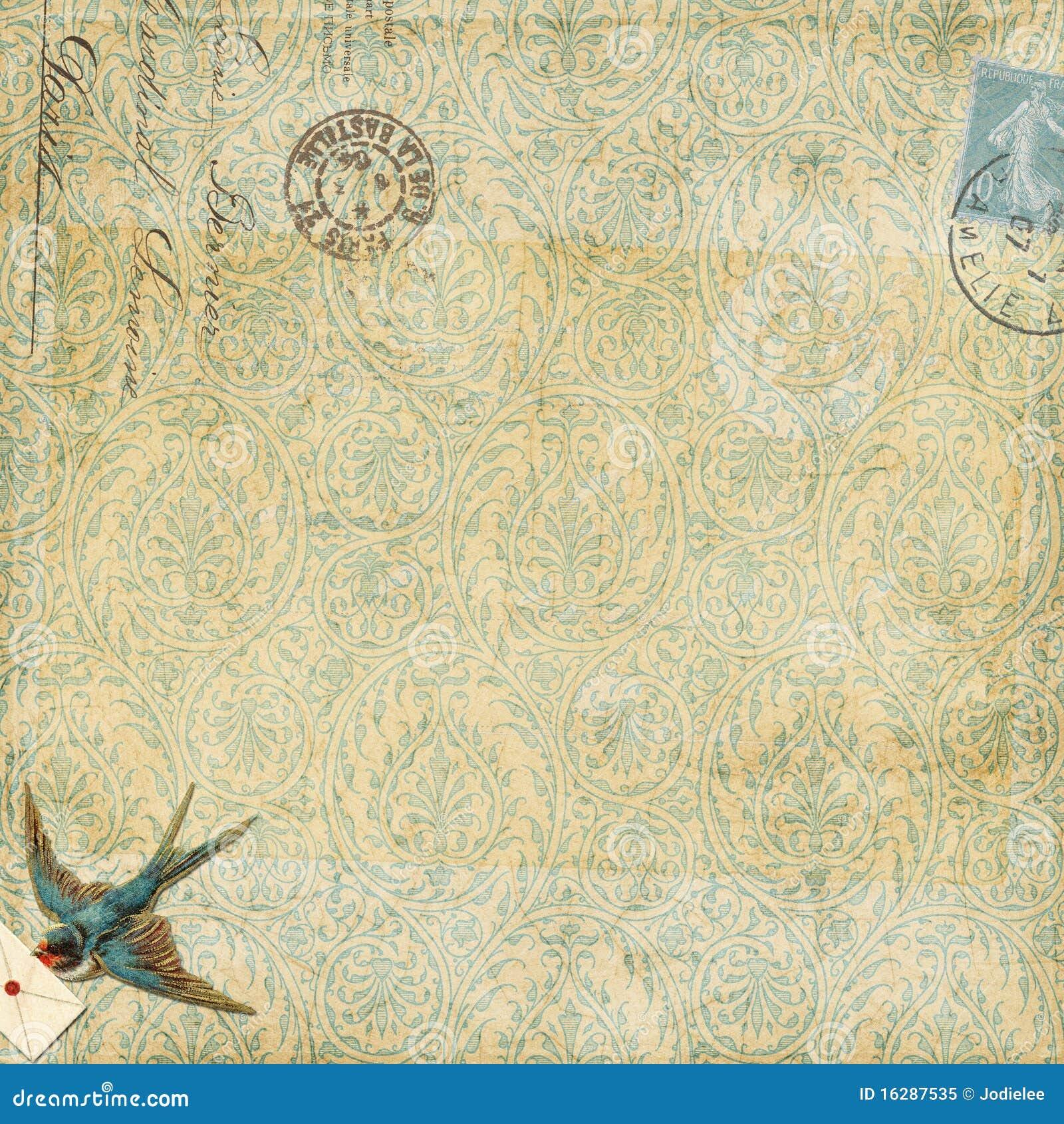 Pássaro azul do vintage do fundo de Paisley com letra