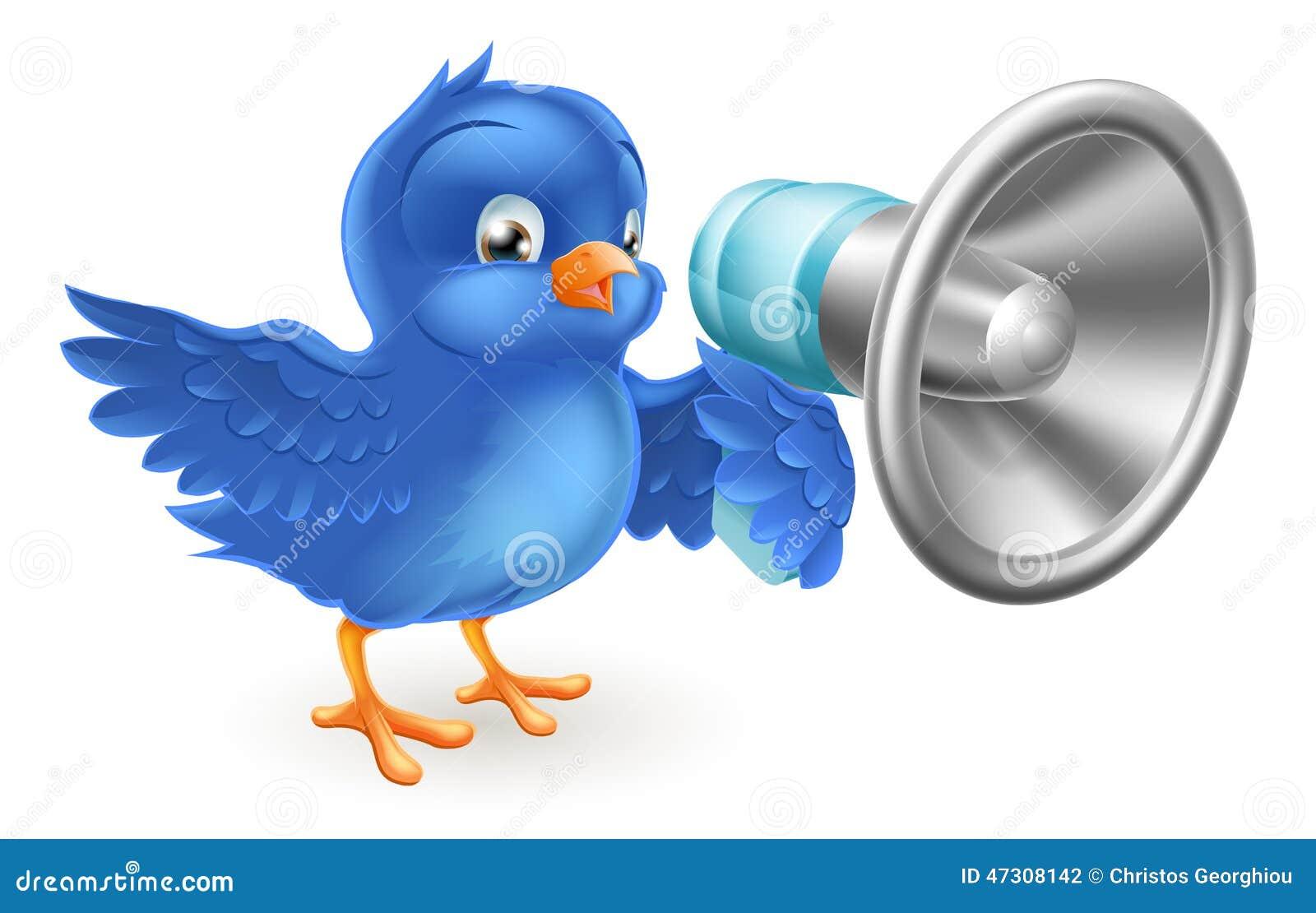 pássaro azul dos desenhos animados com telefone mega ilustração do
