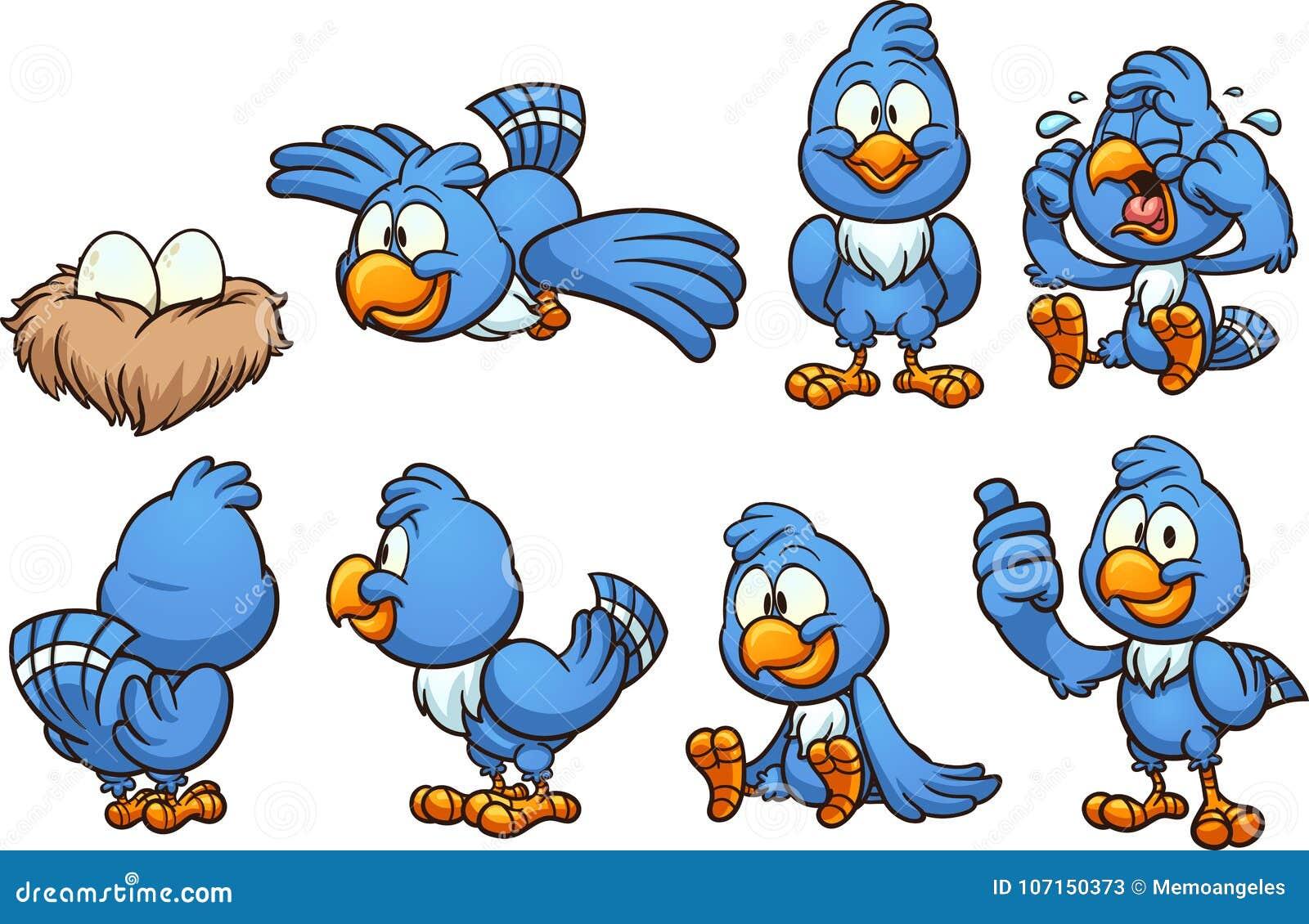 Passaro Azul Dos Desenhos Animados Em Poses Diferentes Ilustracao Do Vetor Ilustracao De Poses Passaro 107150373