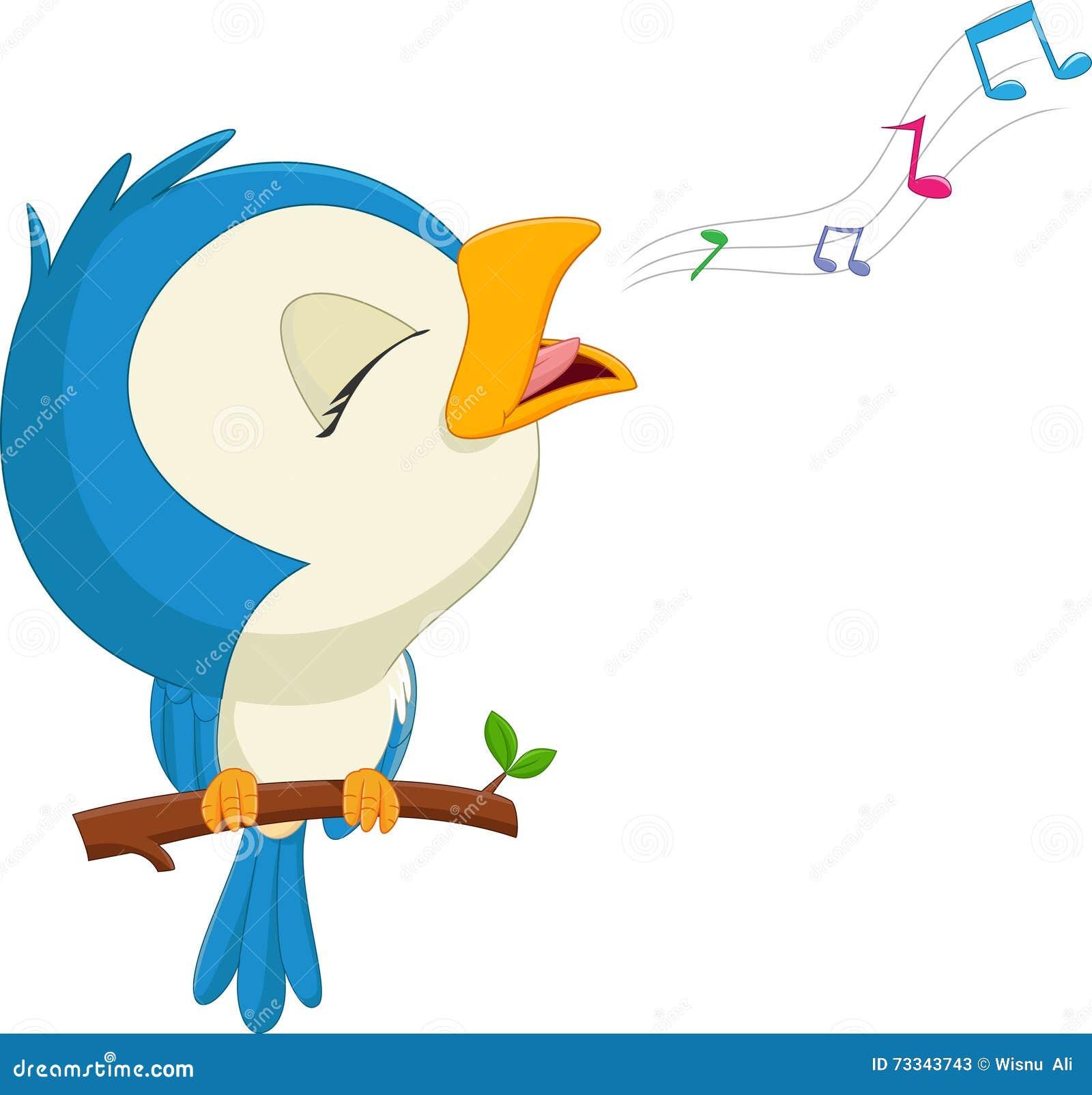 pássaro azul dos desenhos animados que canta ilustração do vetor
