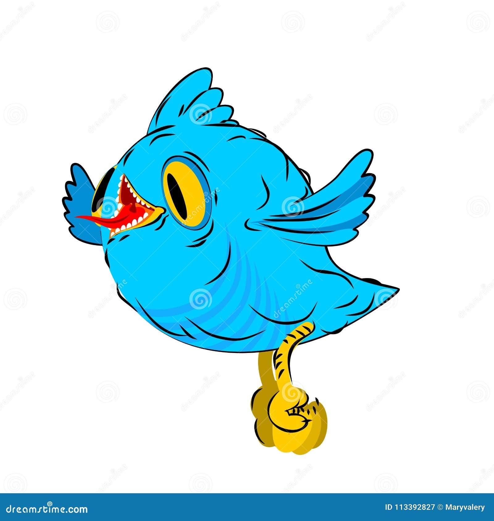 pássaro azul poucas moscas estilo dos desenhos animados do