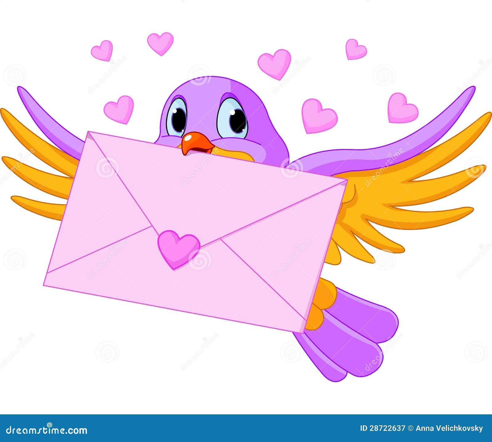 Pássaro com carta de amor
