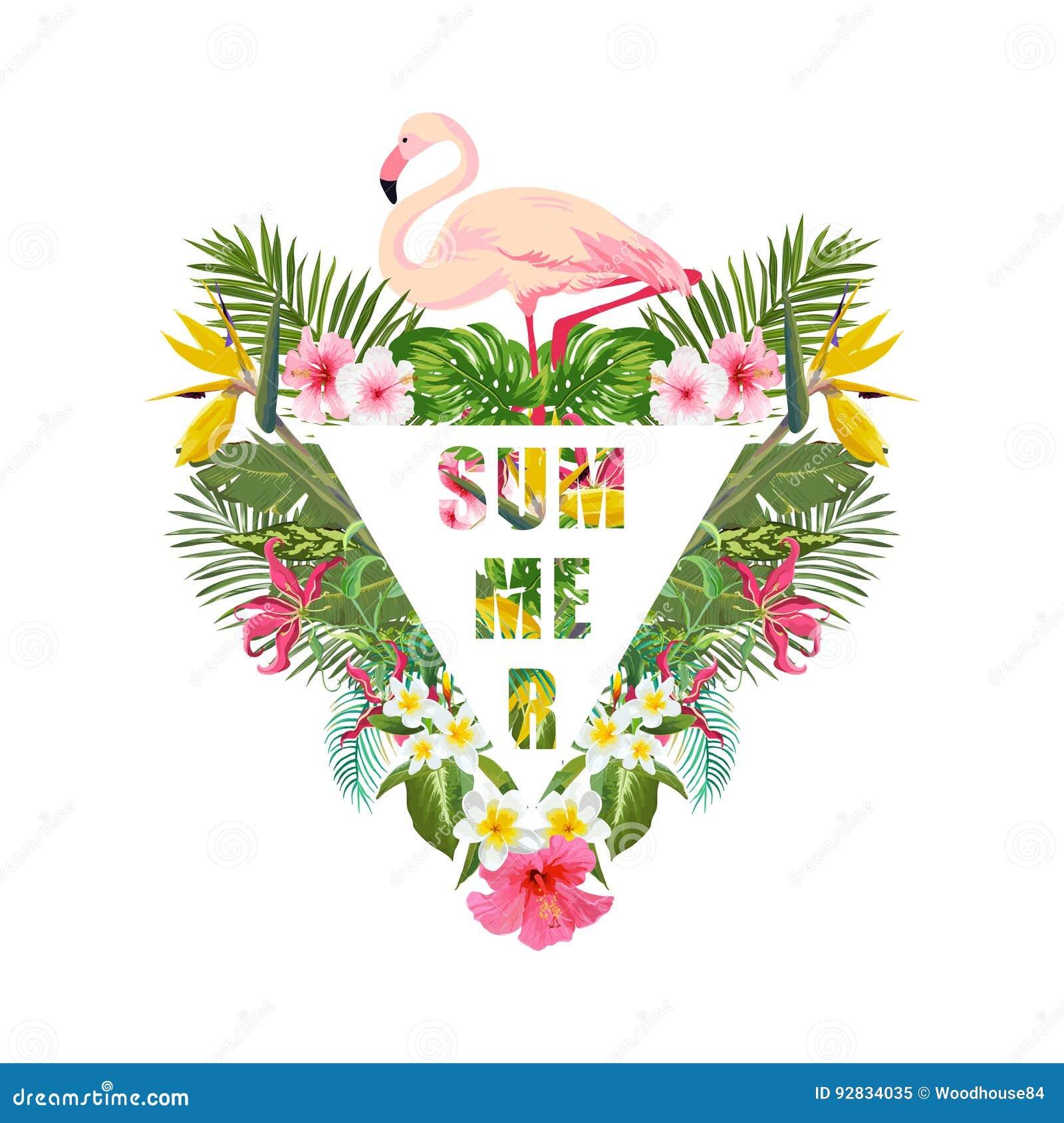 Pássaro do flamingo e fundo tropicais das flores Projeto do verão Gráfico da forma do t-shirt exotic