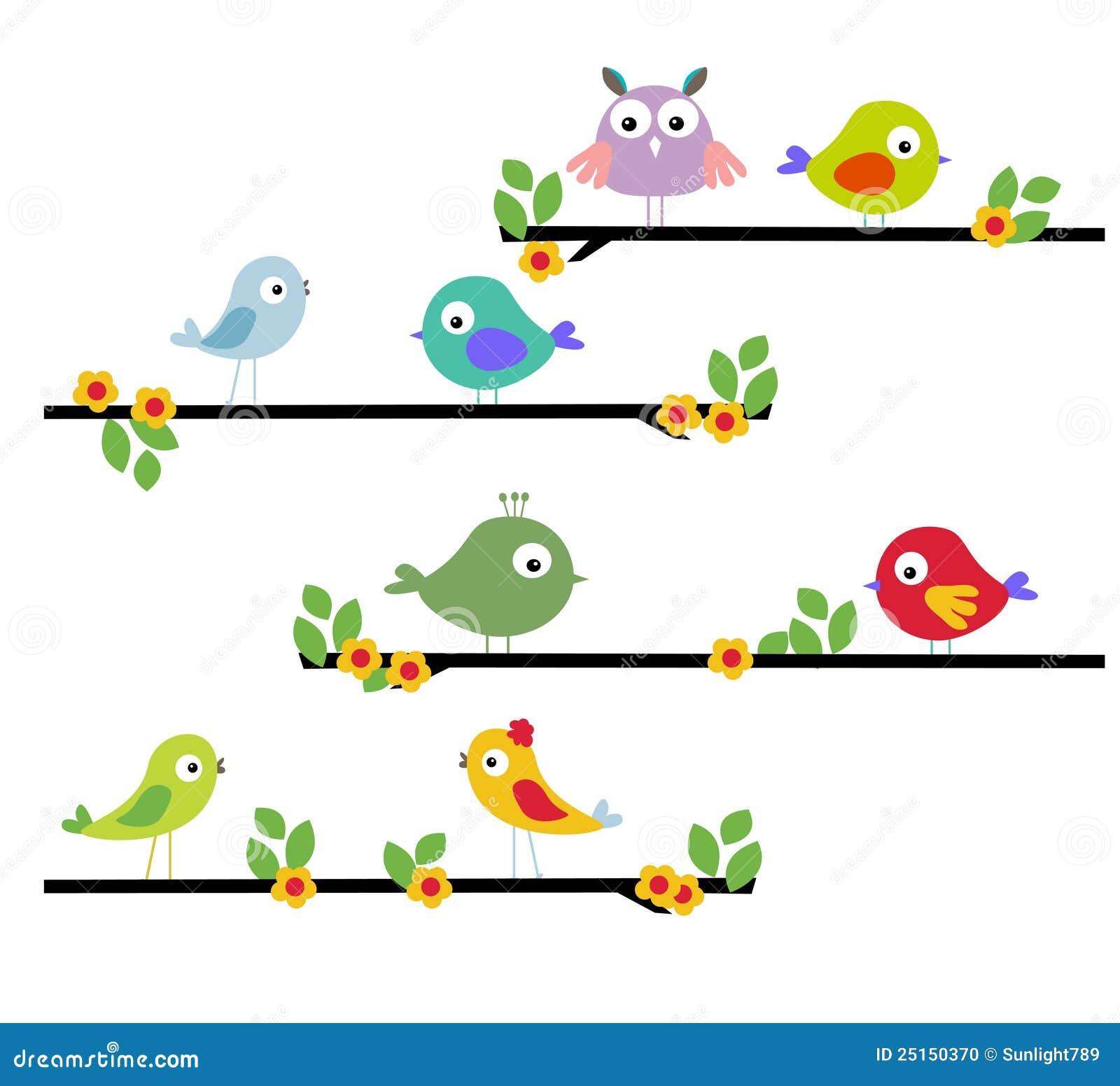 Pássaro dos desenhos animados em uma árvore