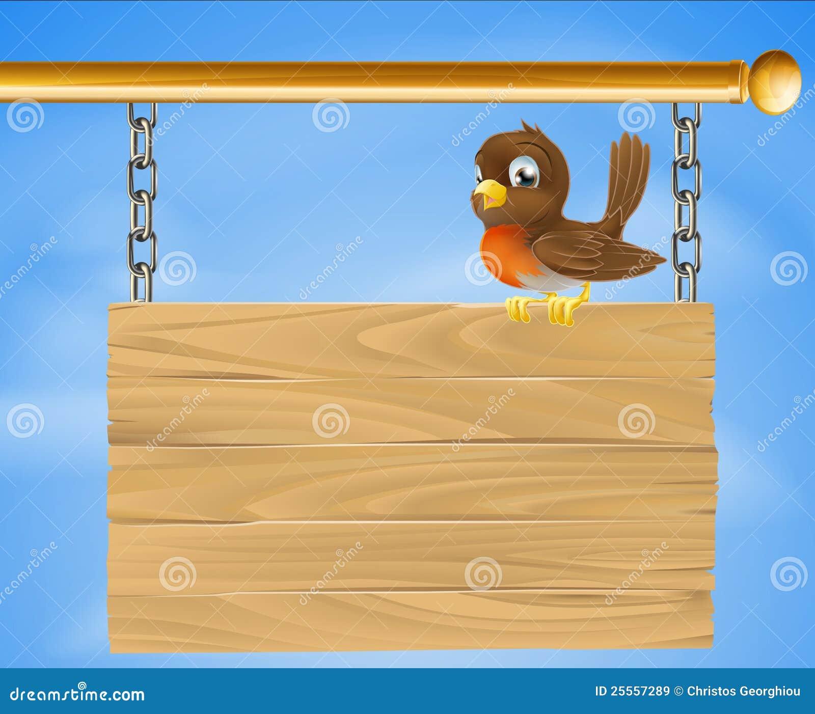 Pássaro no sinal de madeira