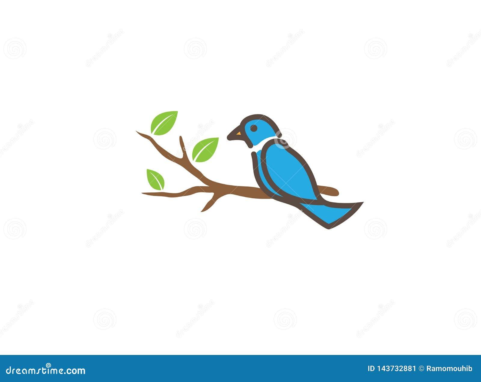 Pássaro nos ramos com as folhas para o projeto do logotipo, ilustração do ícone da pomba