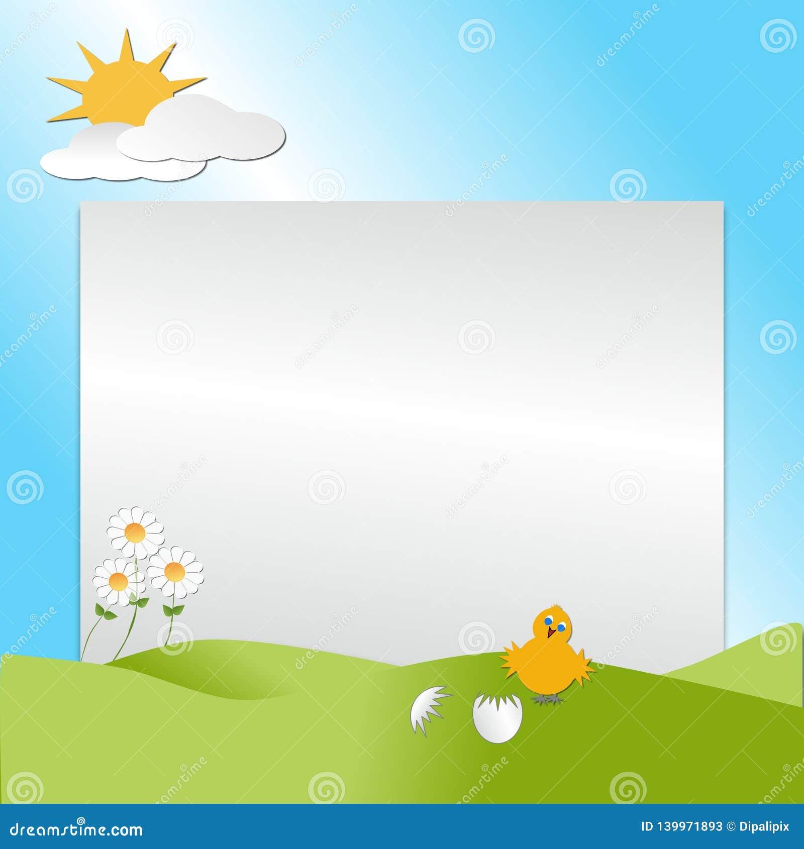 Pássaro que choca de um ovo com montes, sol, nuvens que descrevem uma cena da estação de mola