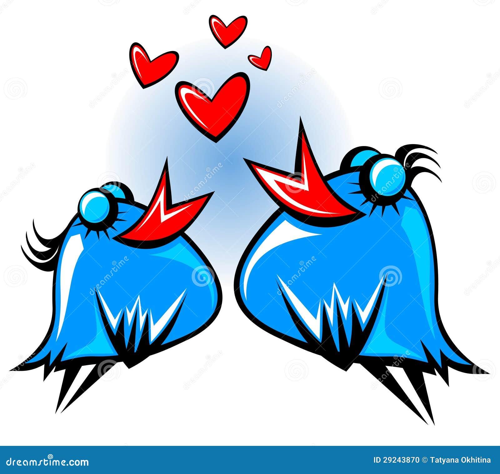 Download Pássaros azuis ilustração do vetor. Ilustração de coração - 29243870