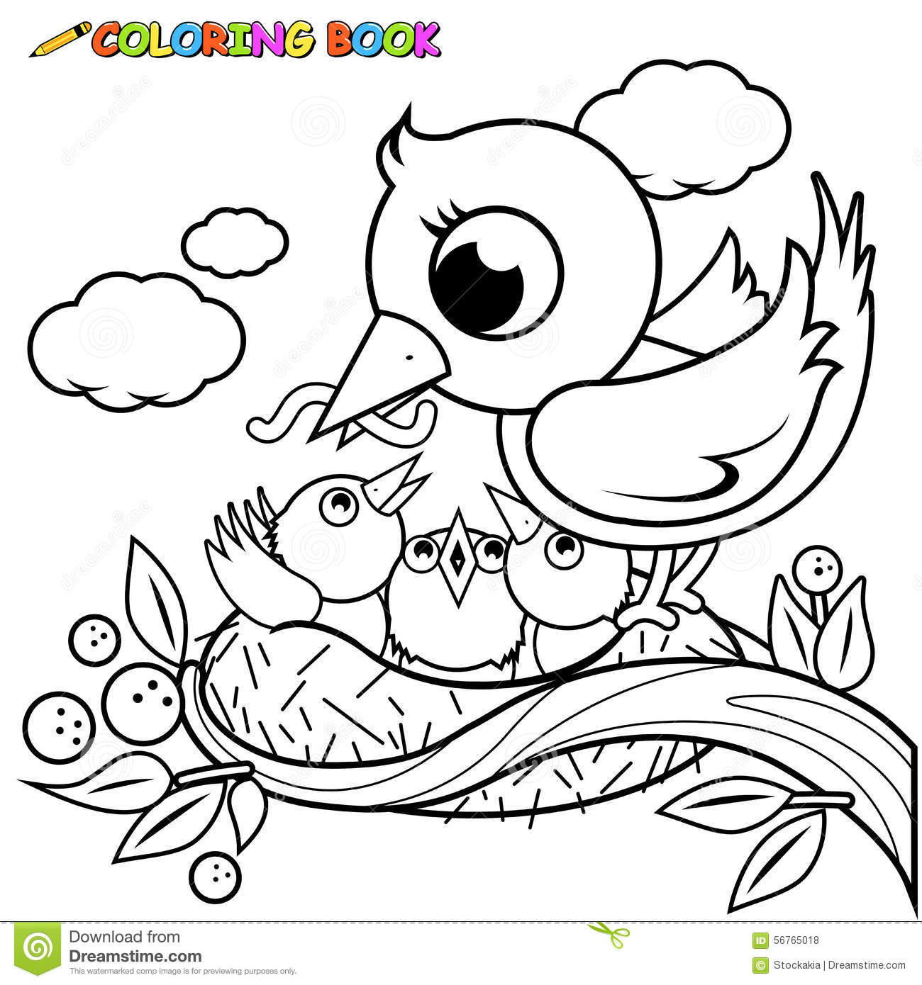 Cute bird coloring pages for kids - Solar help