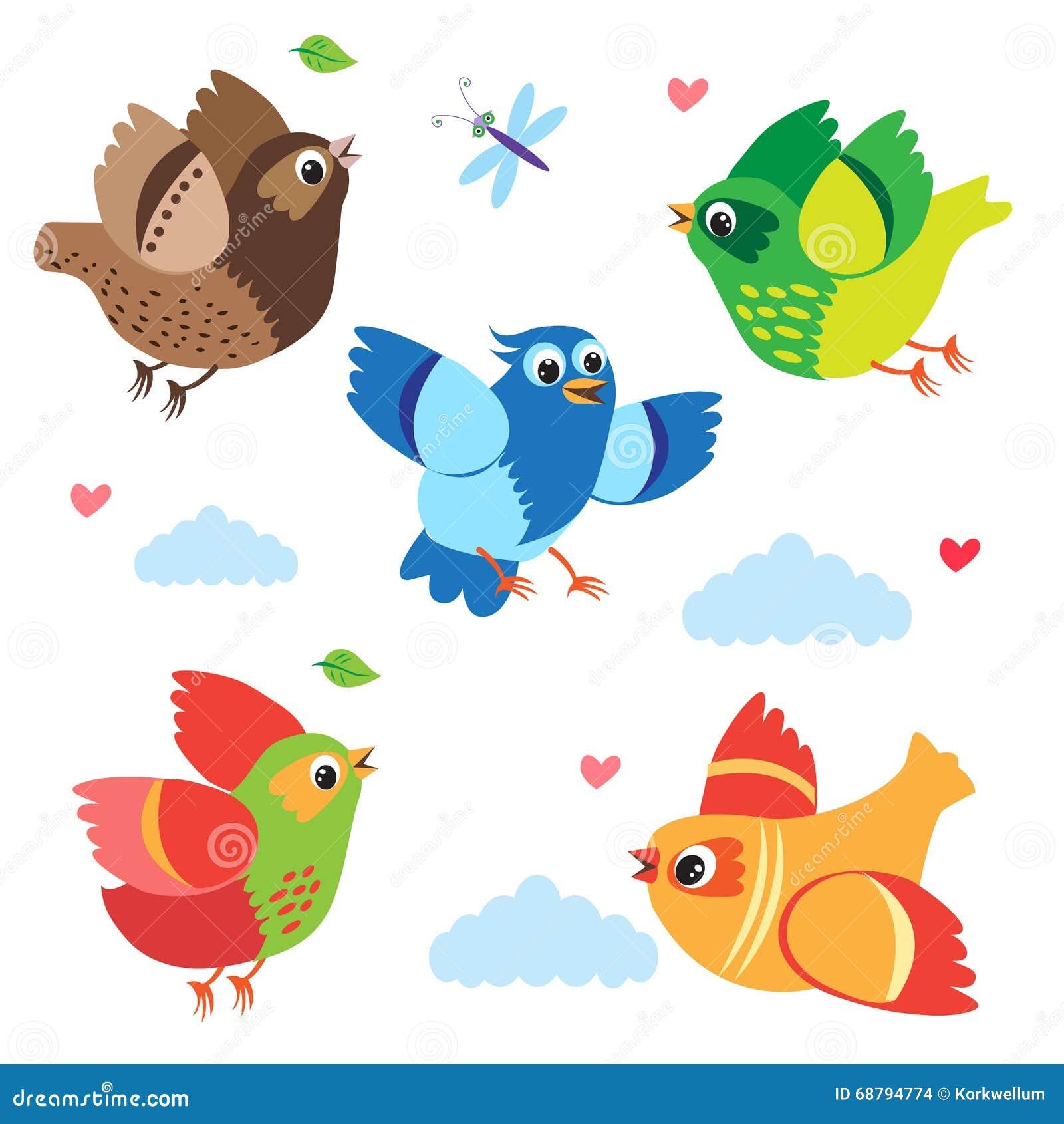 Pássaros Coloridos De Voo Pássaros Do Vetor Ajuste A Ilustração ...