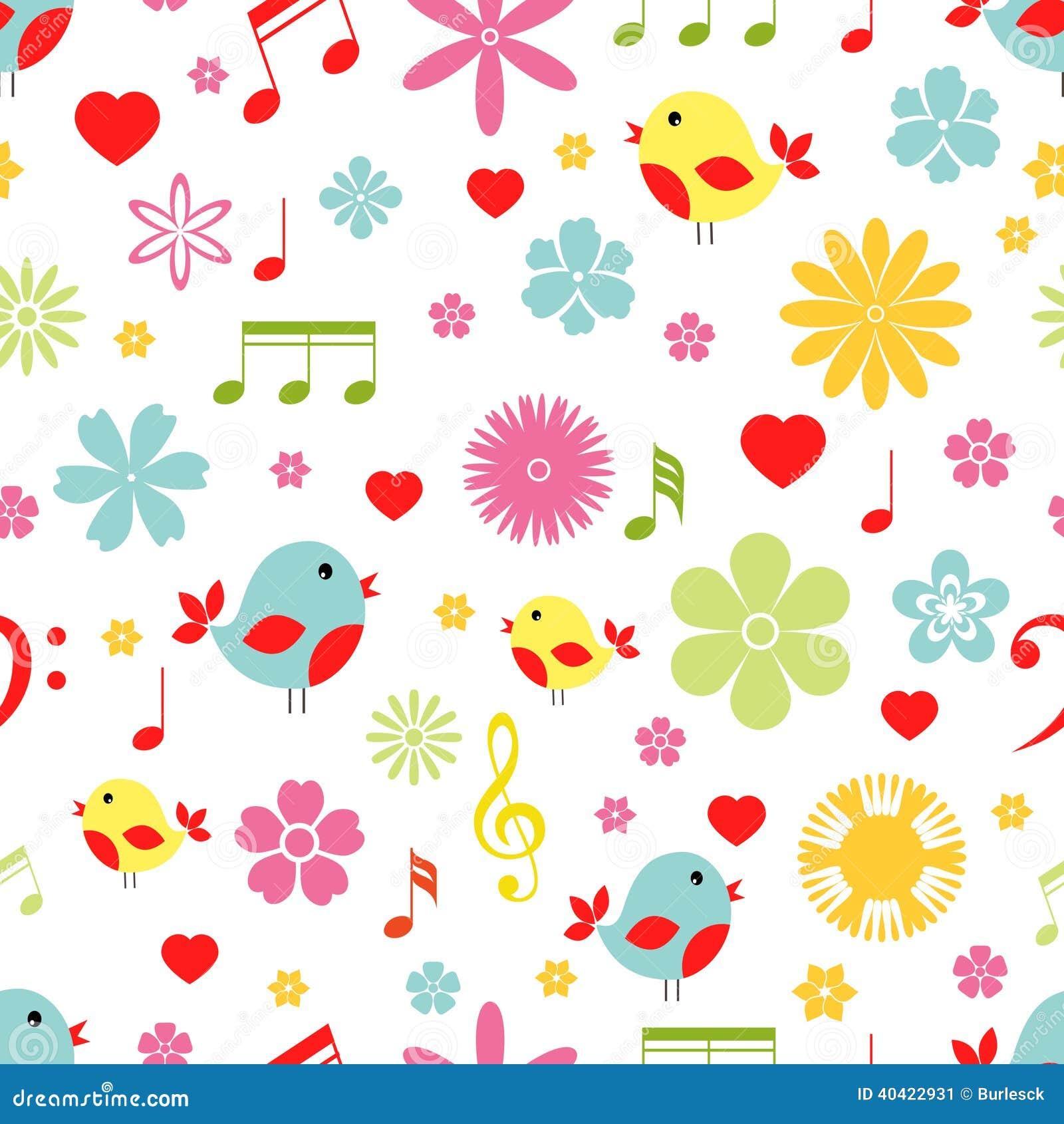 Pássaros das flores e teste padrão sem emenda das notas da música