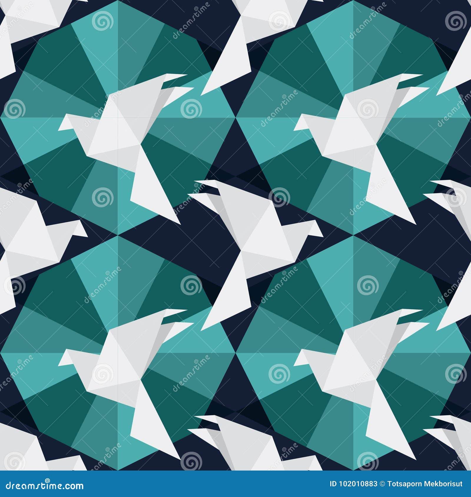 Pássaros de papel do origâmi