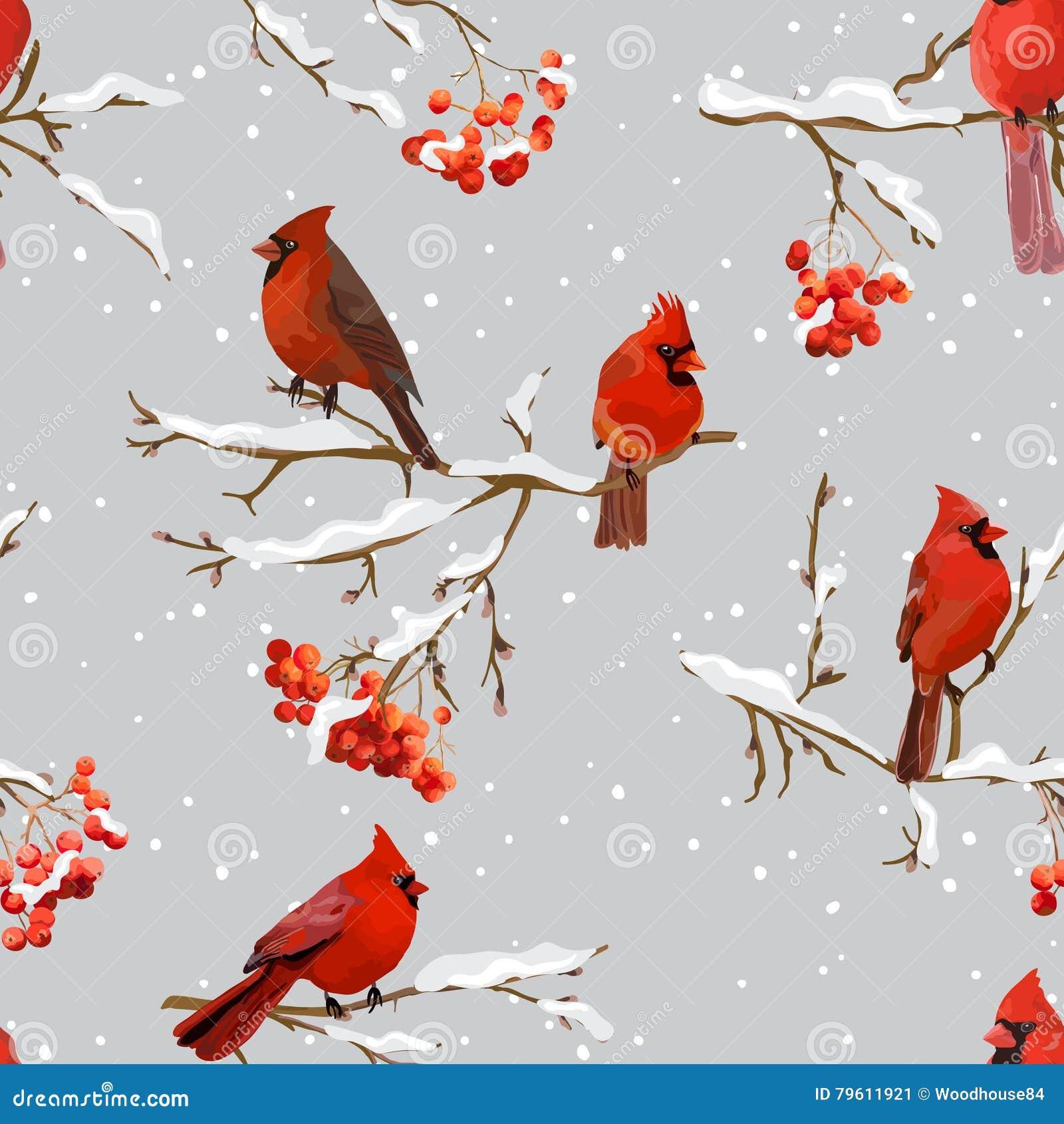 Pássaros do inverno com Rowan Berries Retro Background - teste padrão sem emenda