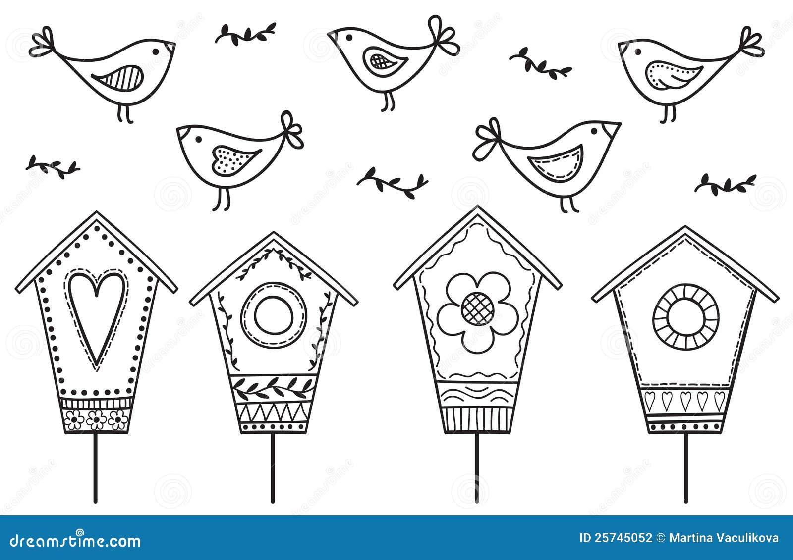 Pássaros e birdhouses