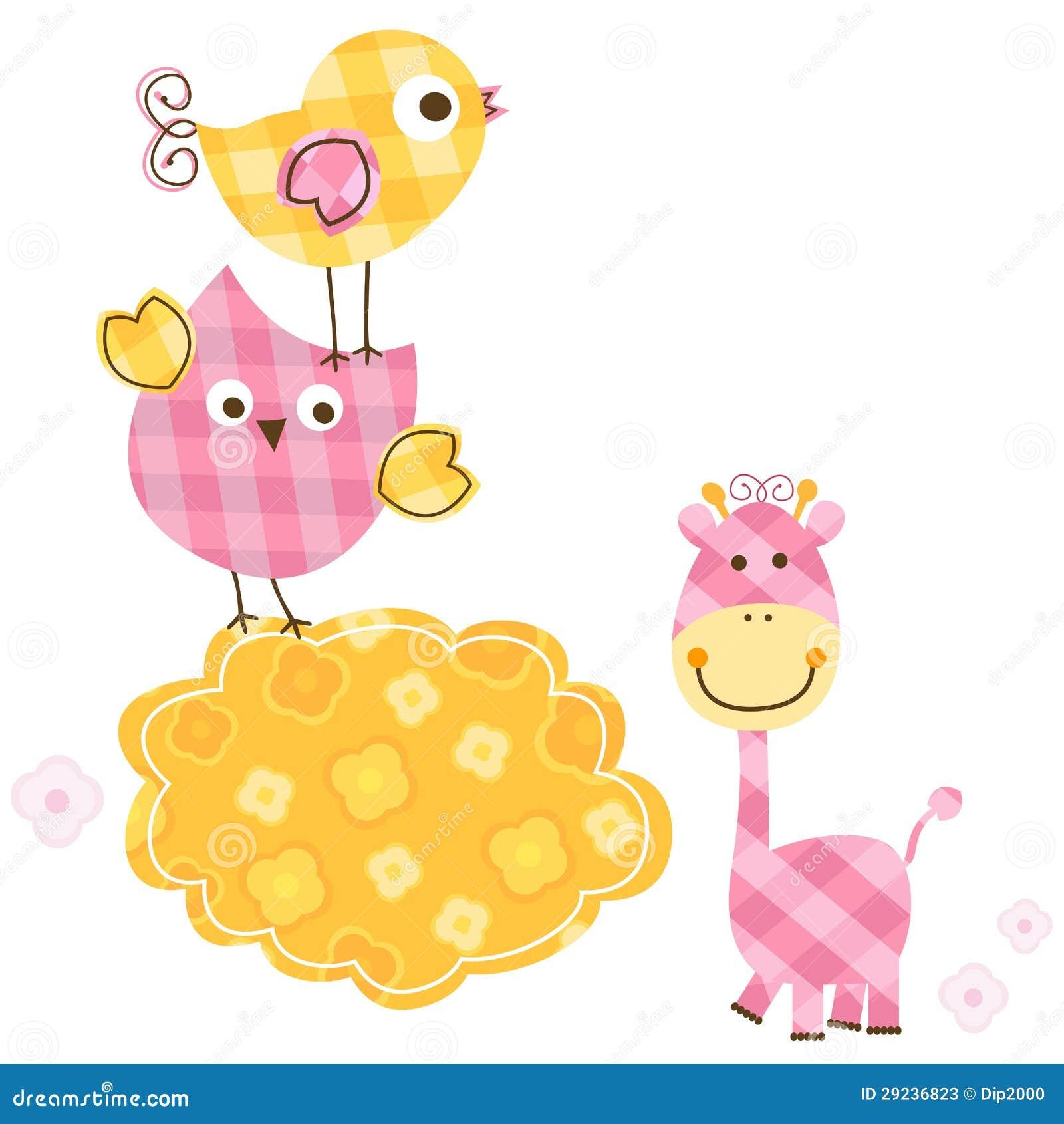 Download Pássaros e girafa ilustração do vetor. Ilustração de divertimento - 29236823