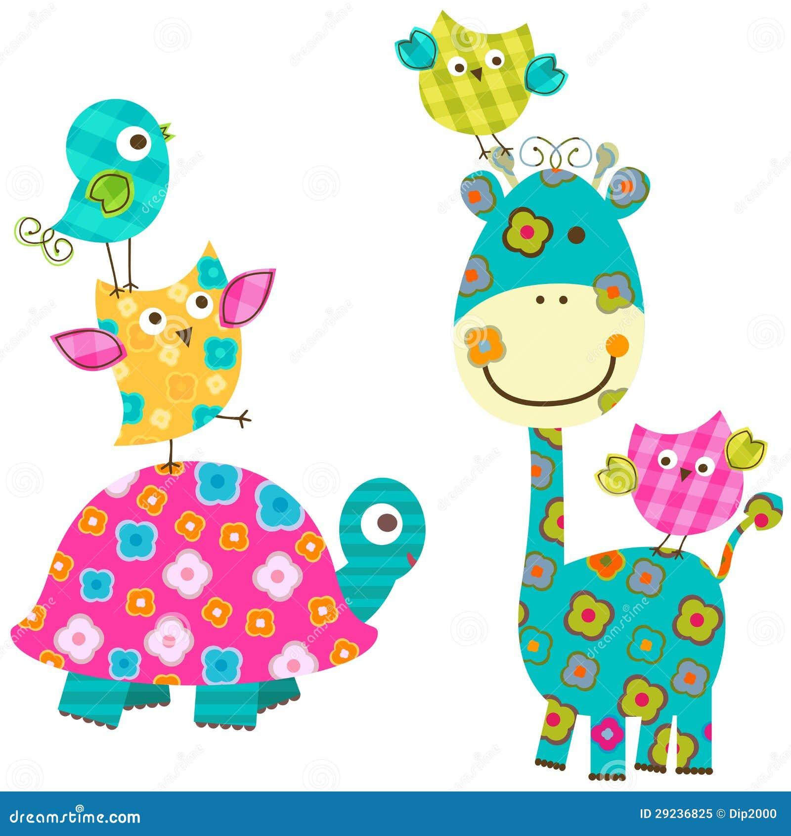 Download Pássaros e girafa felizes ilustração do vetor. Ilustração de doce - 29236825