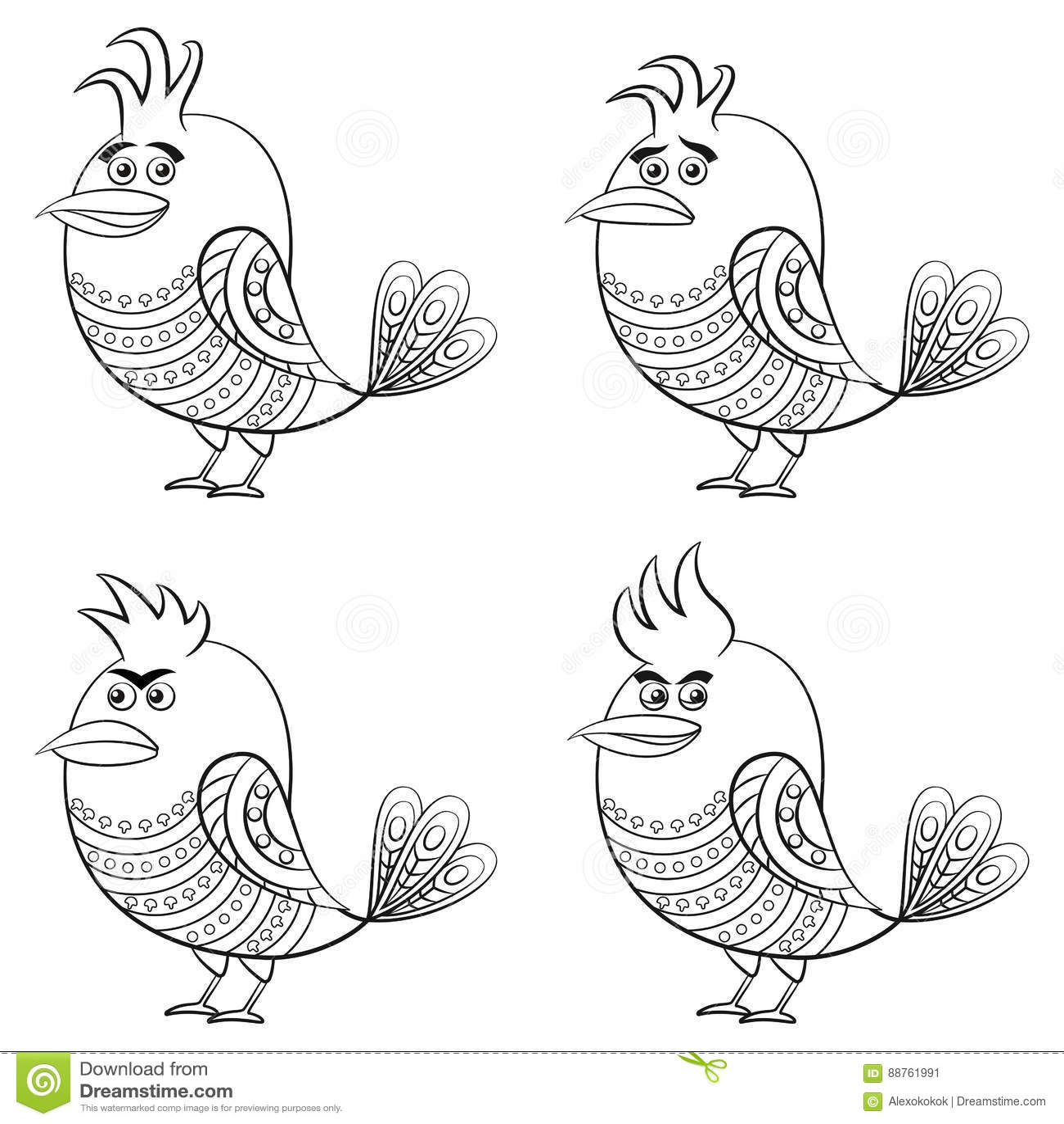 pássaros engraçados grupo contorno ilustração do vetor