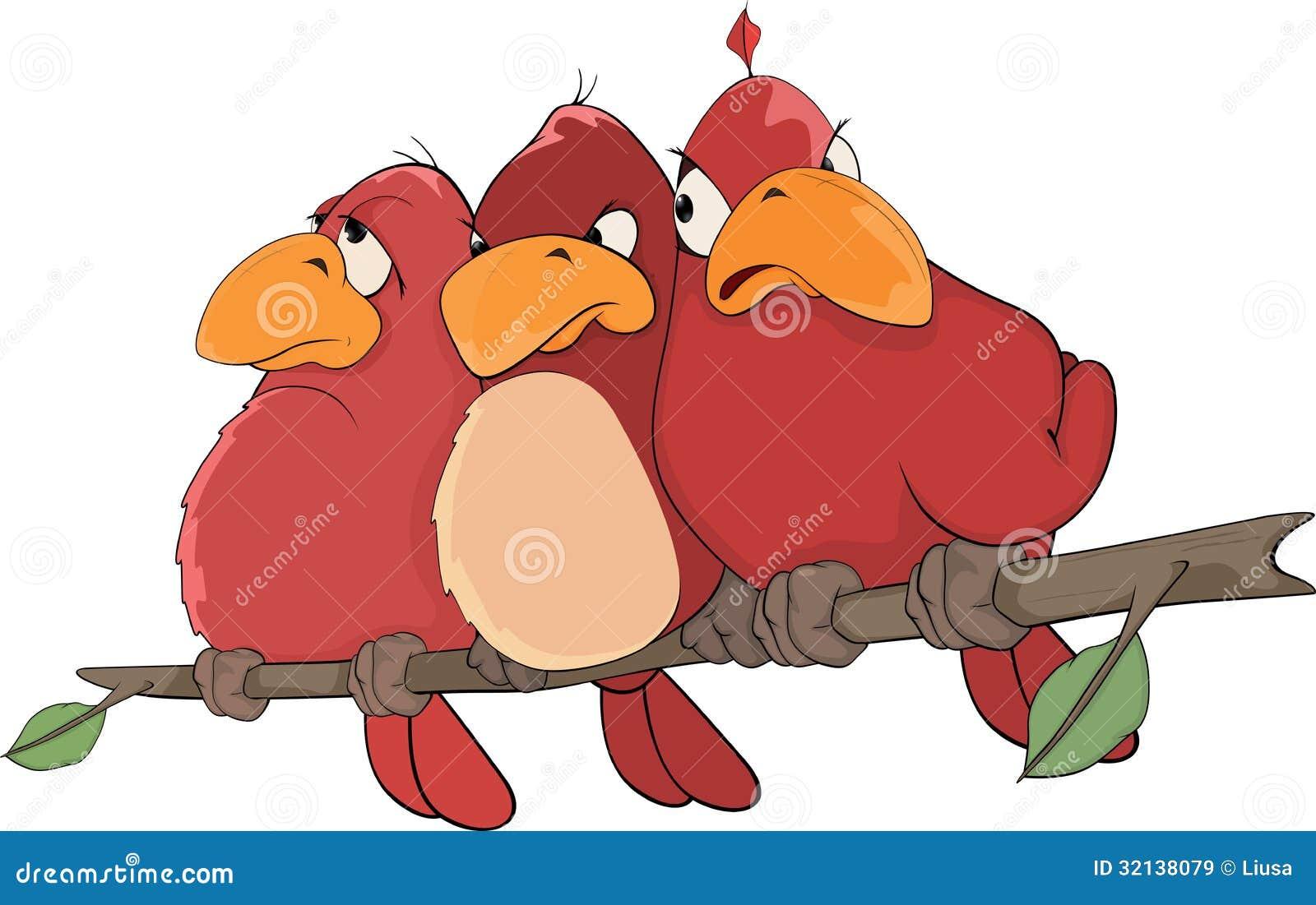 Pássaros vermelhos. Desenhos animados