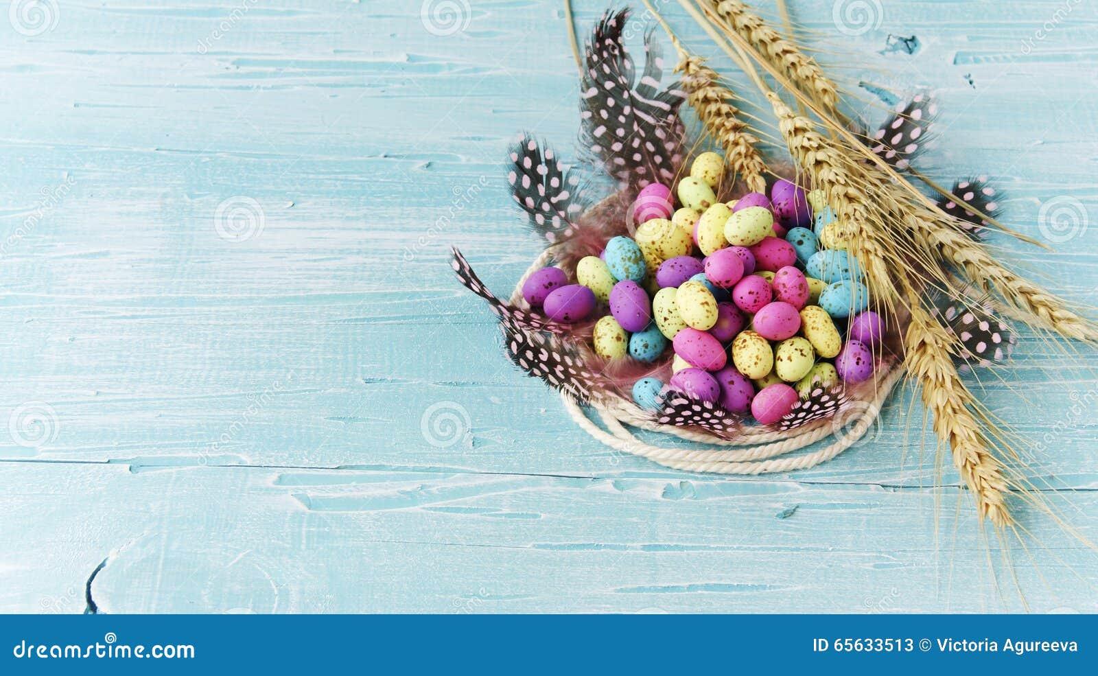 Pâques a coloré des oeufs, plumes, en bois bleu