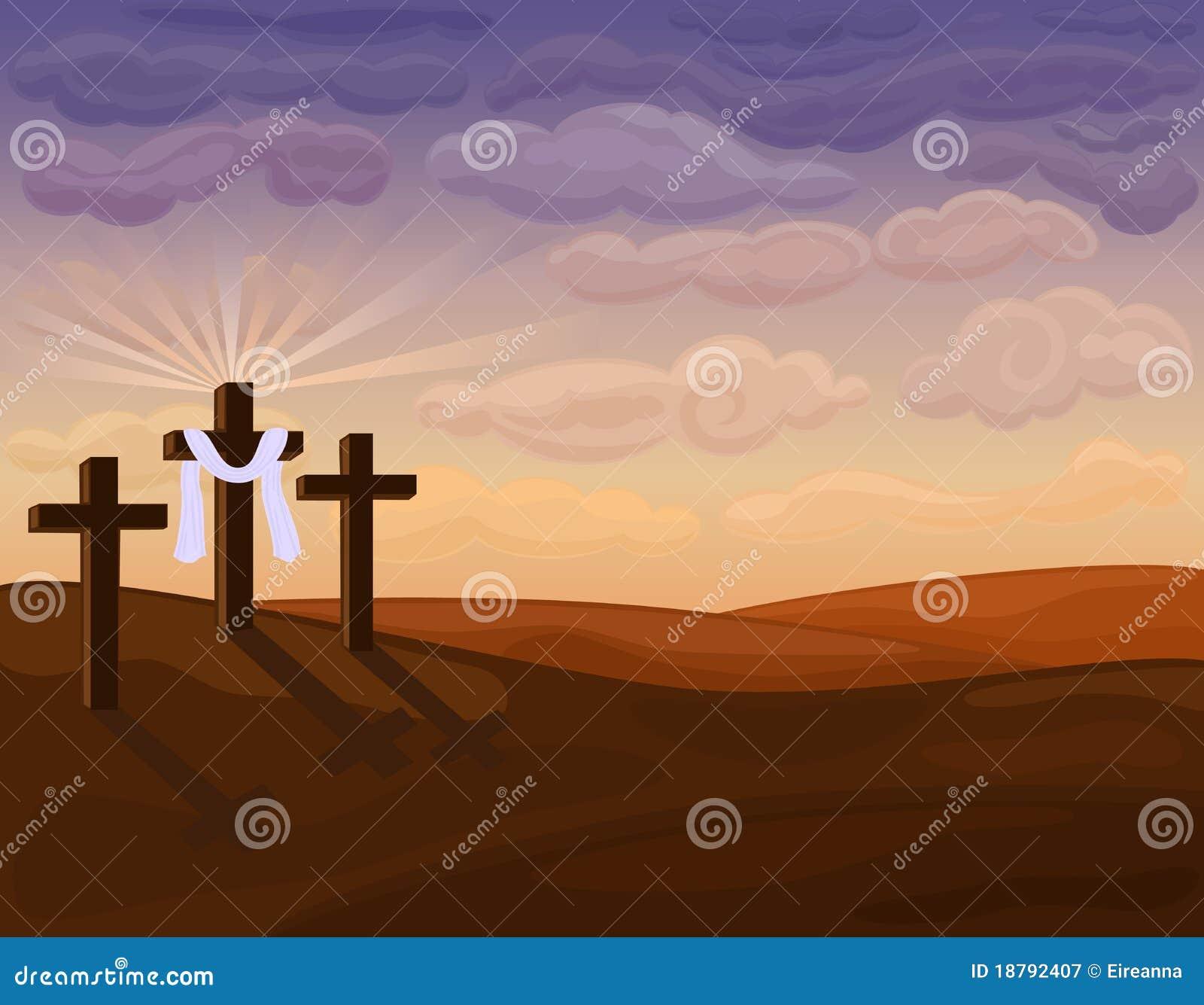 Coucher Du Soleil Au Dessus Des Croix Religieuses Illustration Stock