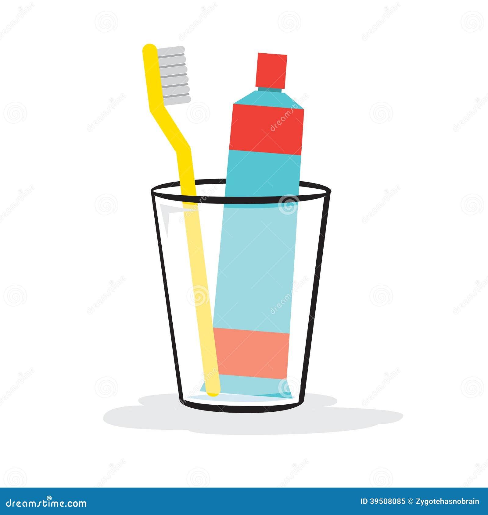 P te dentifrice et brosse dents dans le verre illustration de vecteur image 39508085 - Gobelet brosse a dent ...
