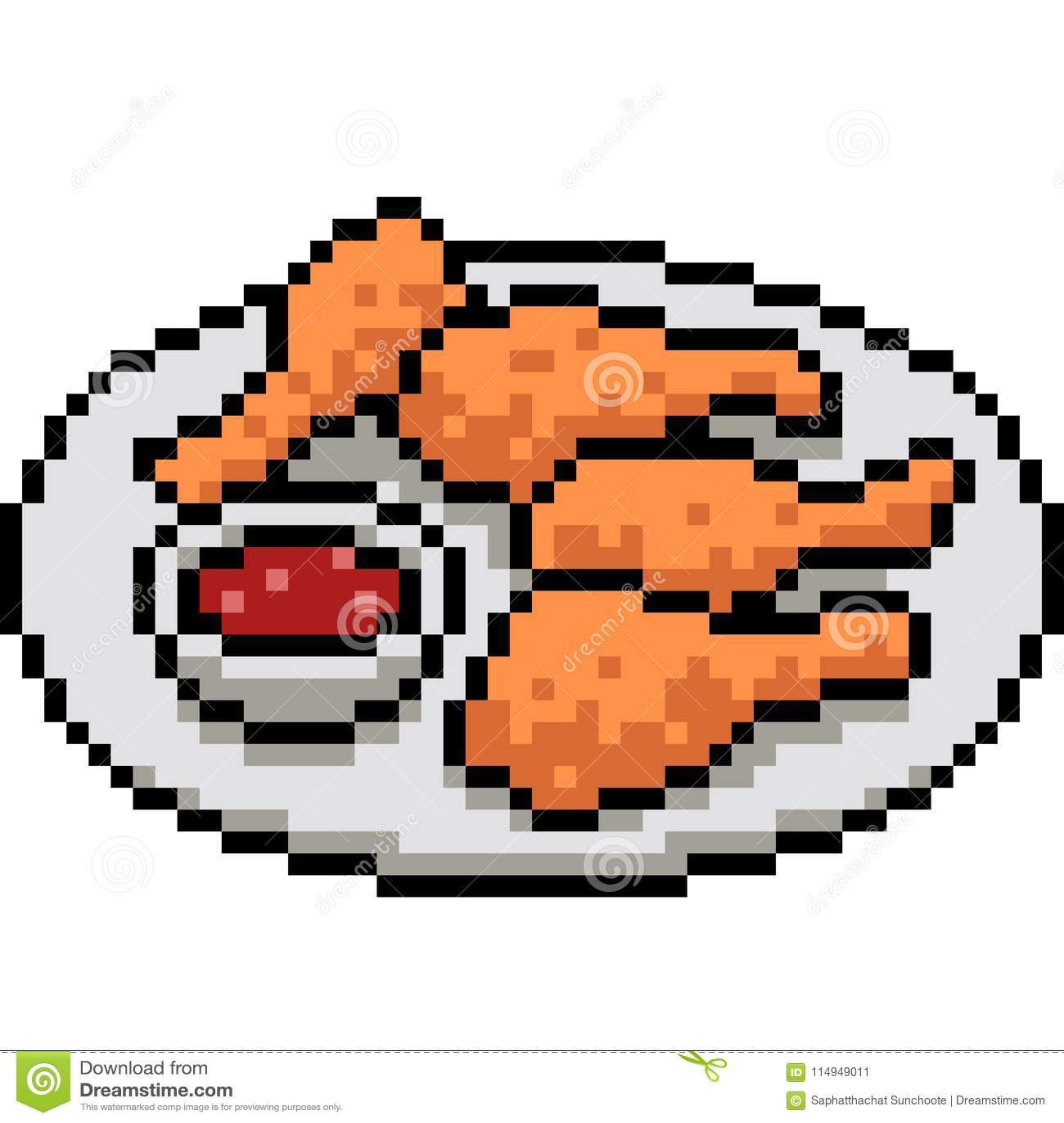 Pâte Lisse De Poulet Dart De Pixel De Vecteur Frite