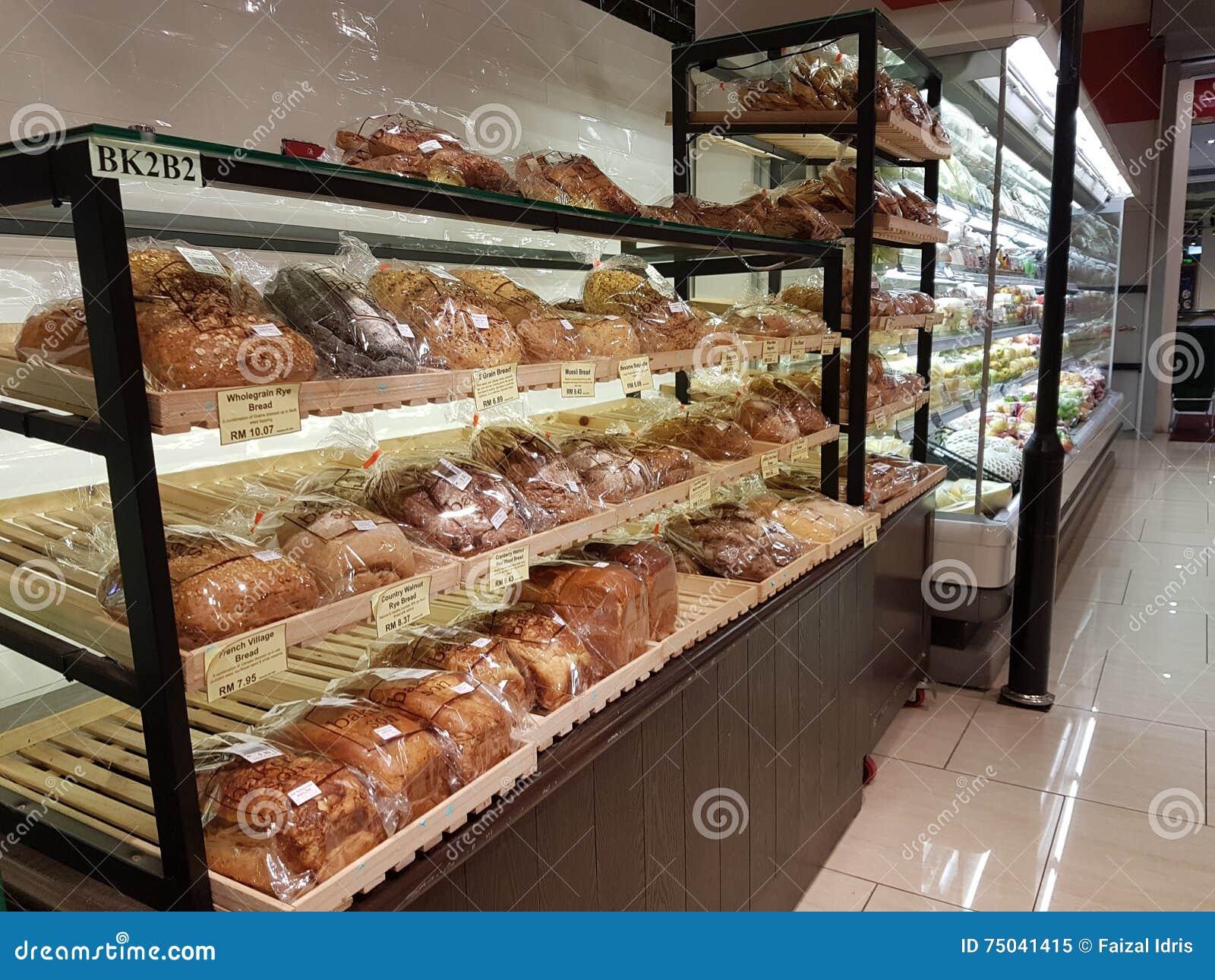 Pães no supermercado dos HOMENS da Dinamarca, Subang USJ, Selangor, Malásia