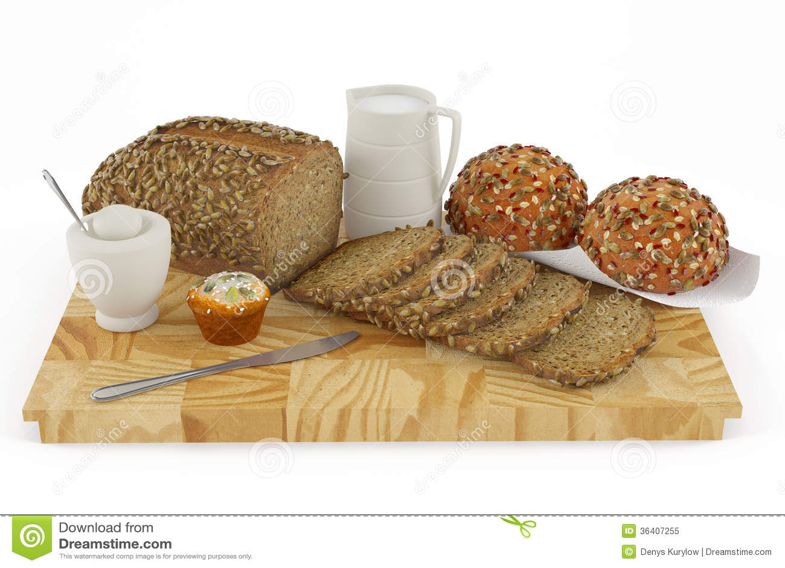 Pão, bolo, bolo, cookie, leite